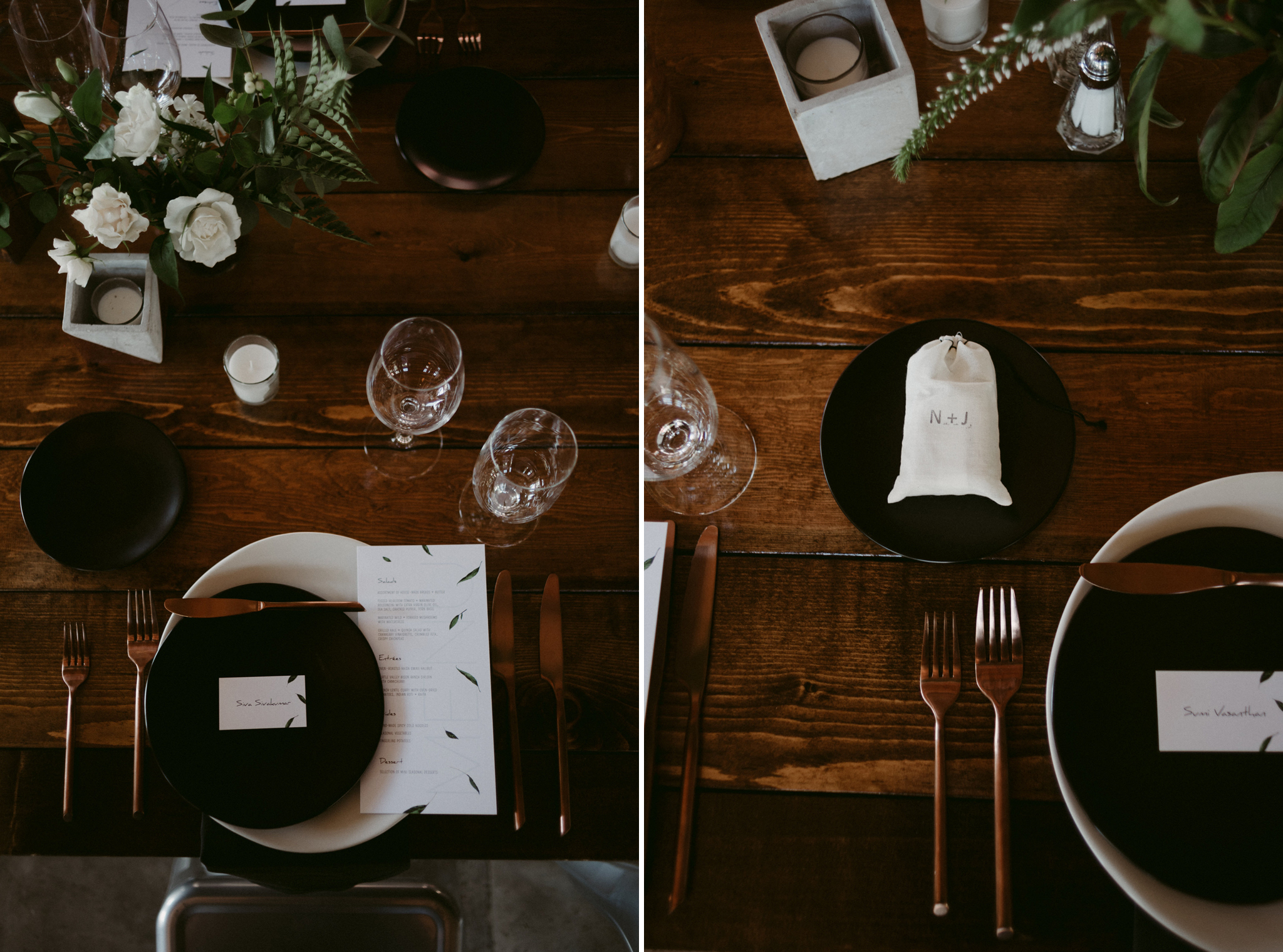 copper utensils, black plates on wood table