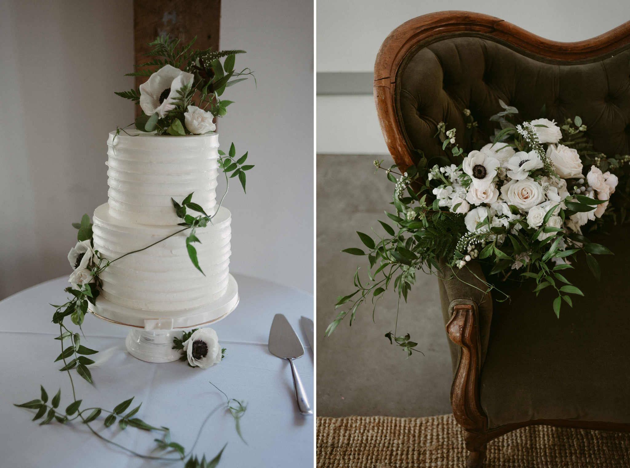 simple white wedding cake with vines and flowers