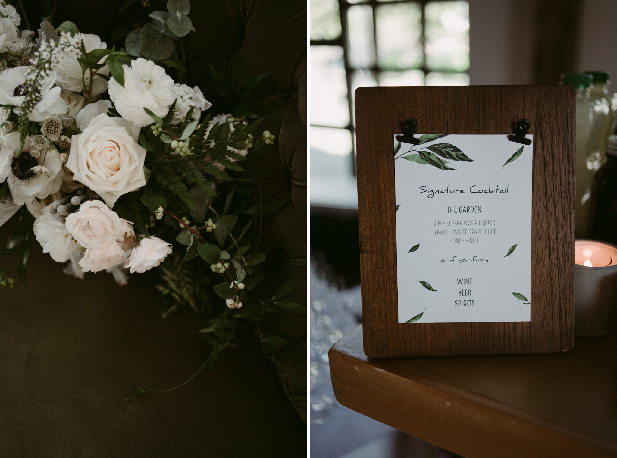 botanical wedding cocktail sign