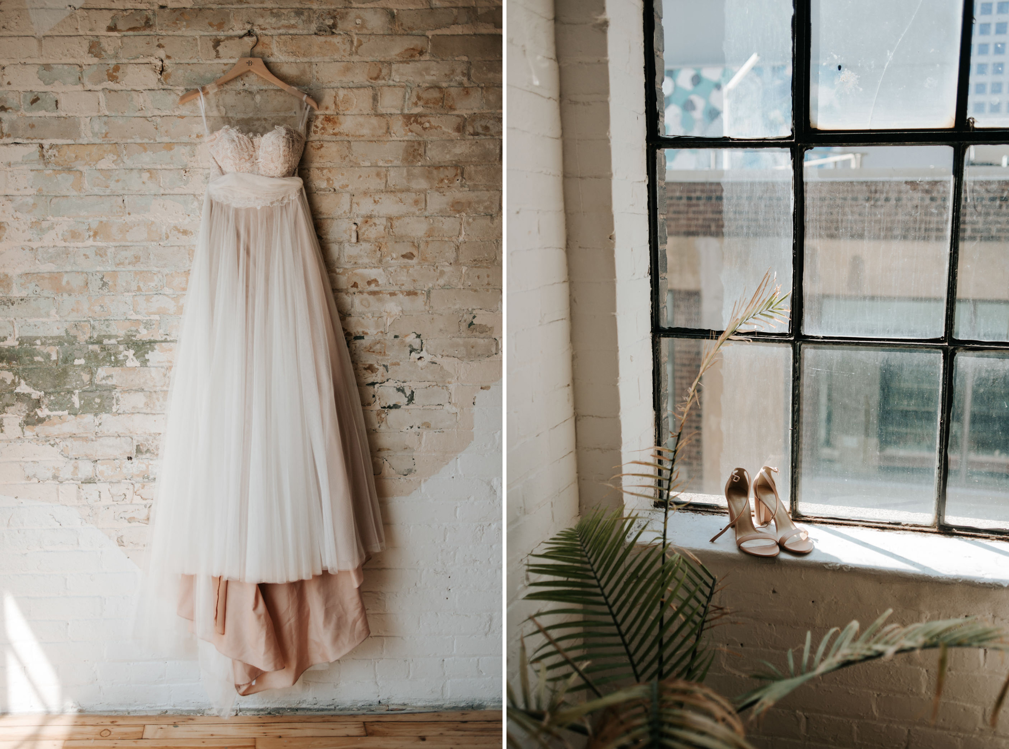 wedding dress hanging on old brick wall