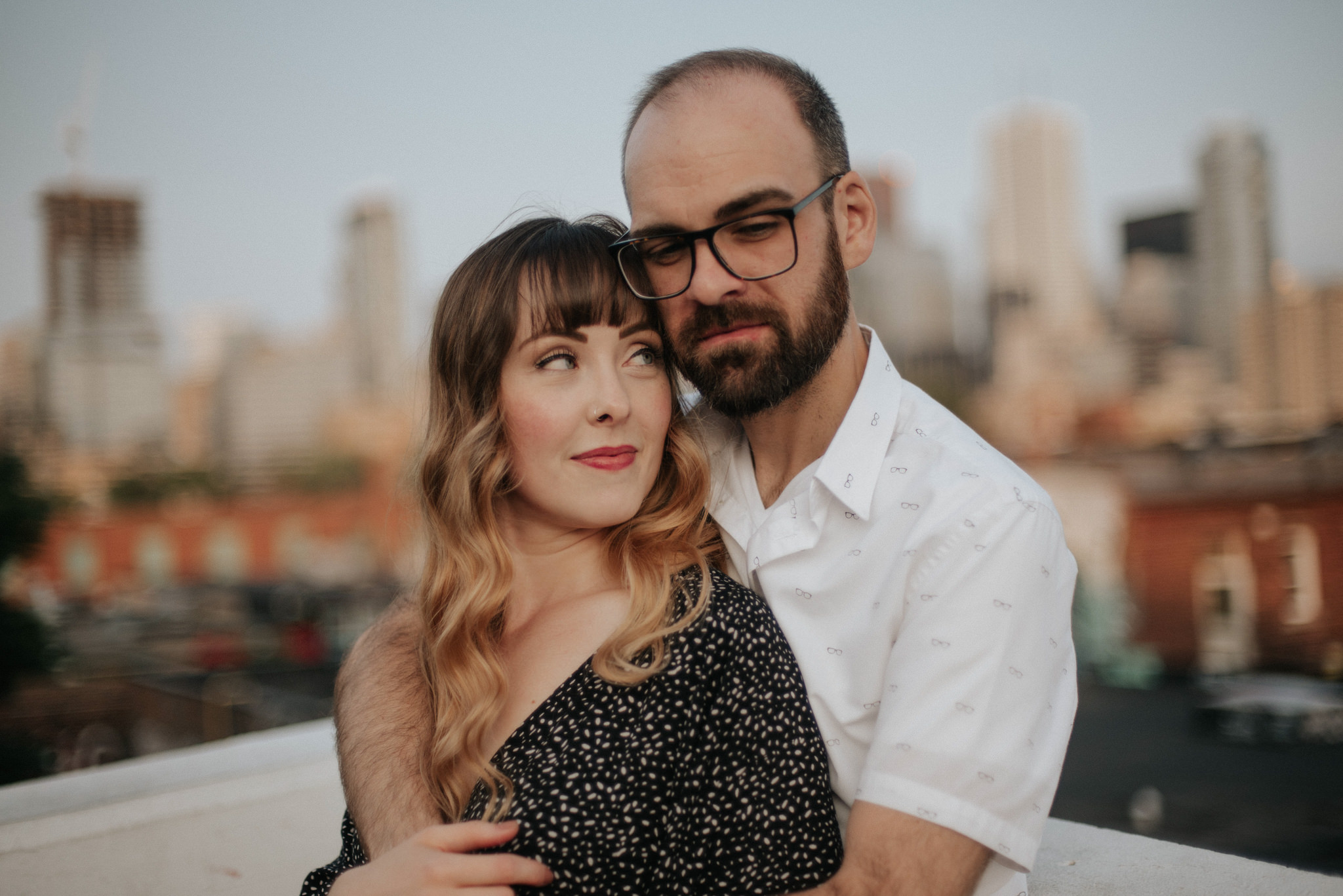 Rooftop Toronto engagement shoot