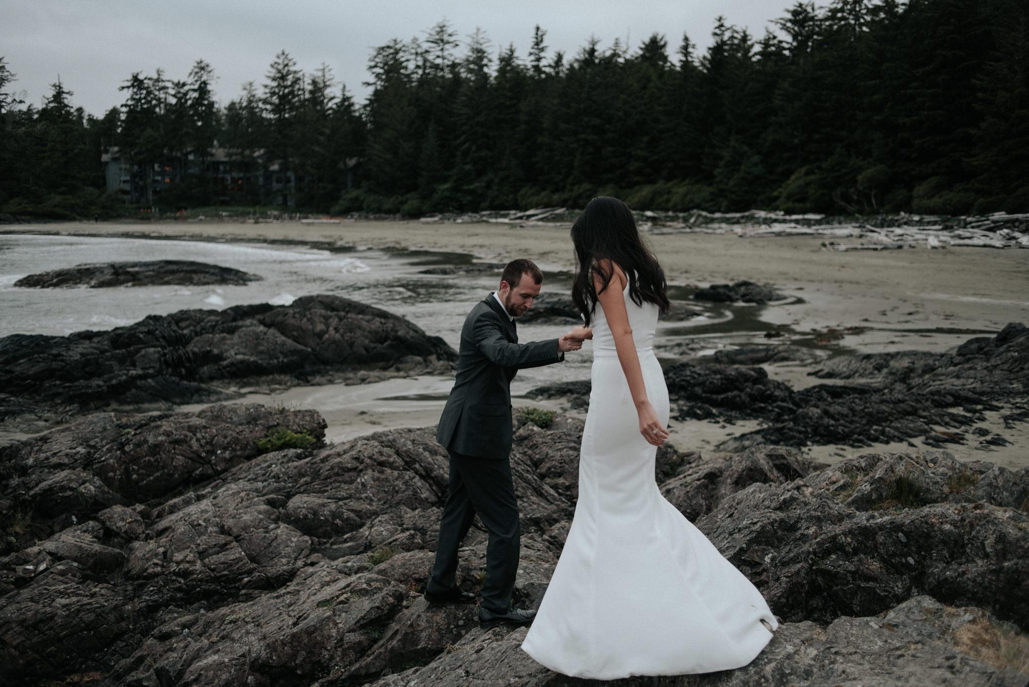 Wedding portraits on Chesterman Beach