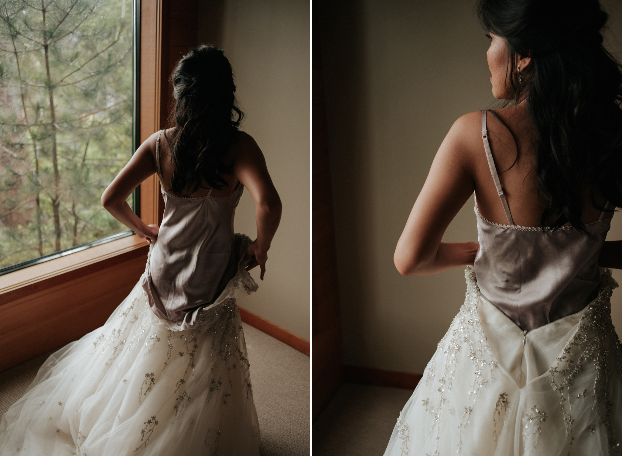 bride stepping into dress by window at Wickaninnish Inn for her Tofino Elopement