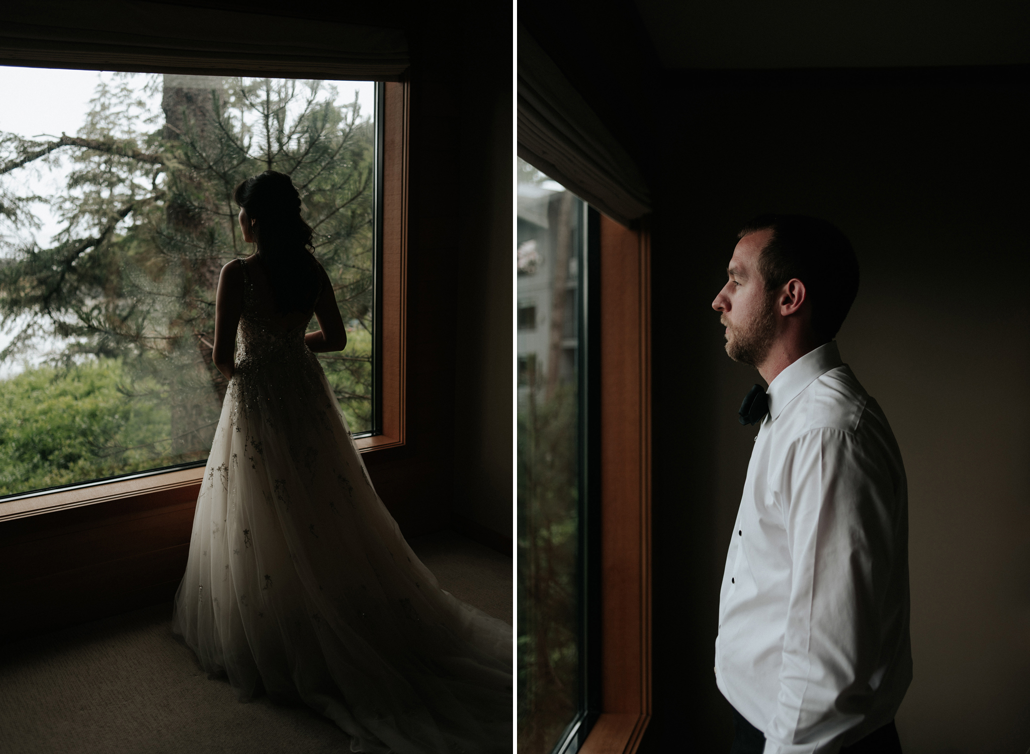 bride and groom standing by window at Wickaninnish Inn for her Tofino Elopement