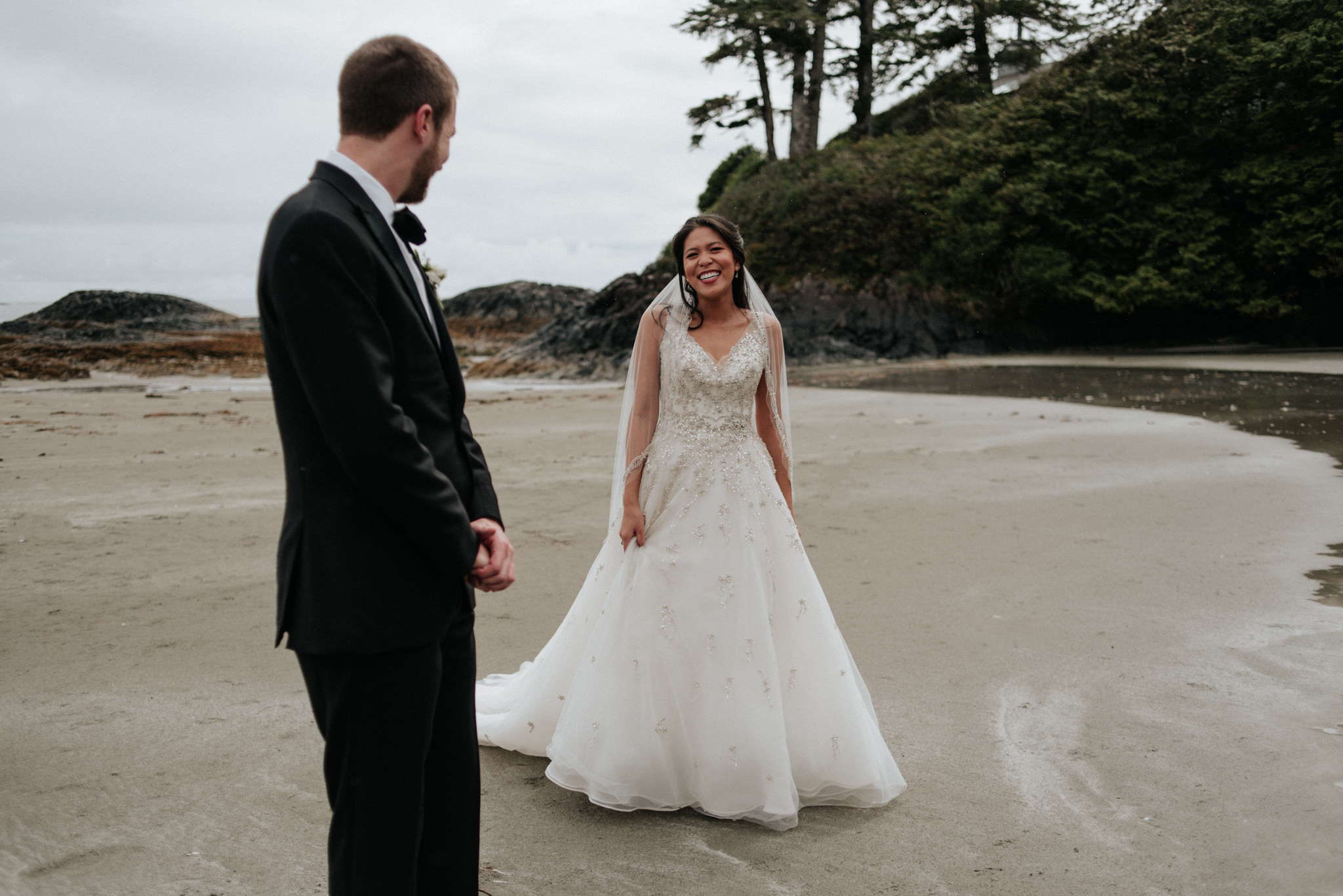 bride and groom on Chesterman Beach