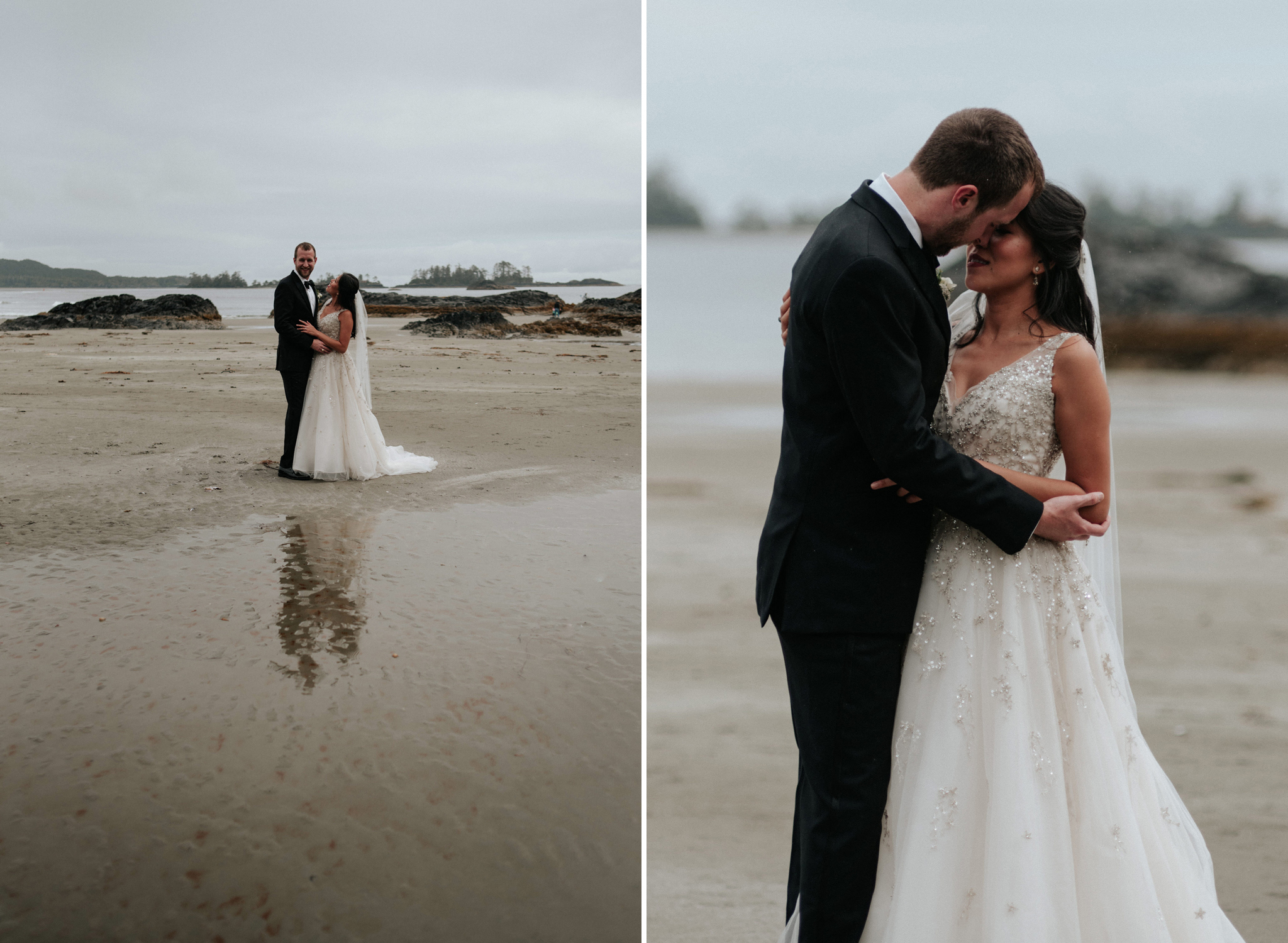 wedding portraits on beach in Tofino