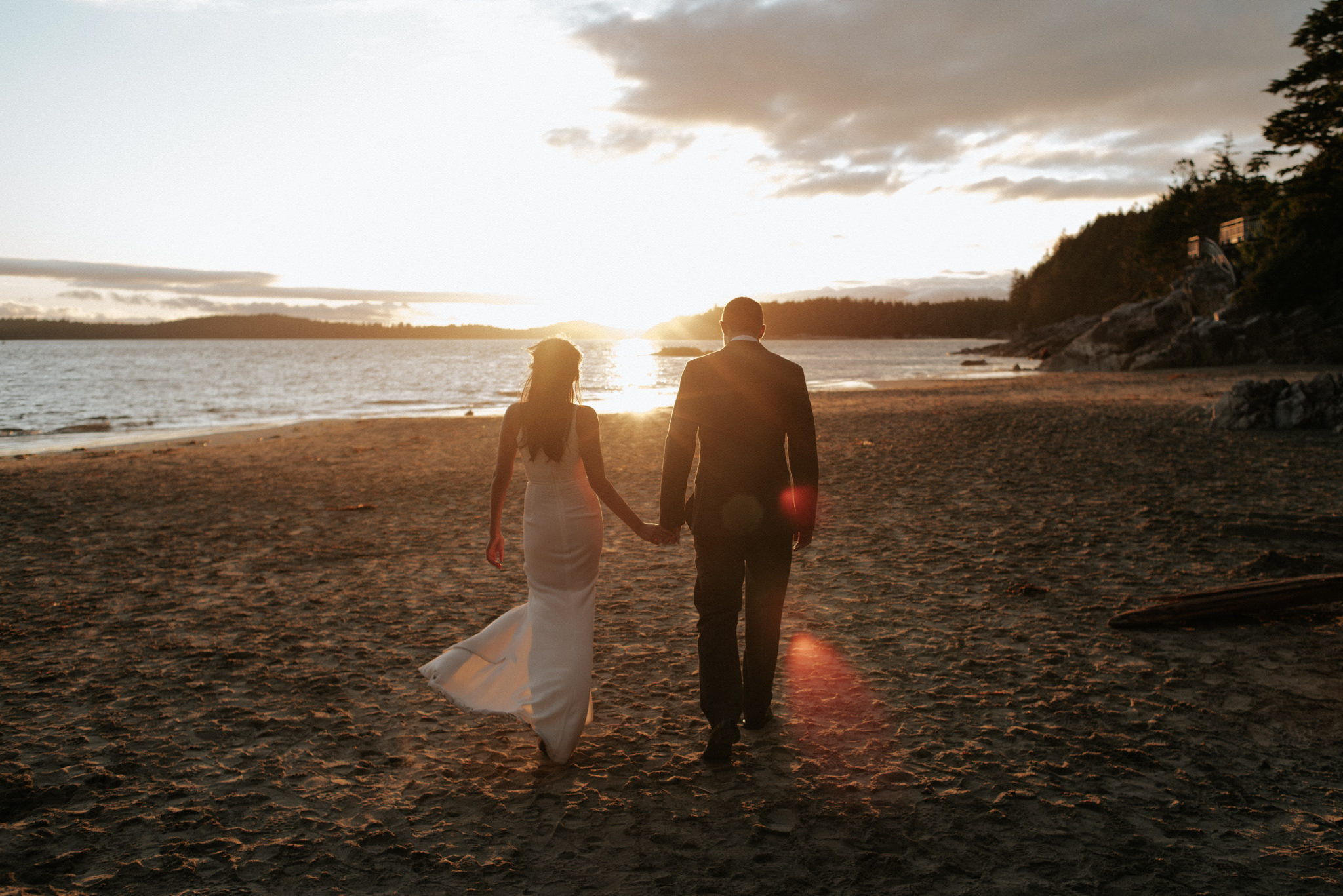 Tofino elopement sunset wedding portraits on the beach