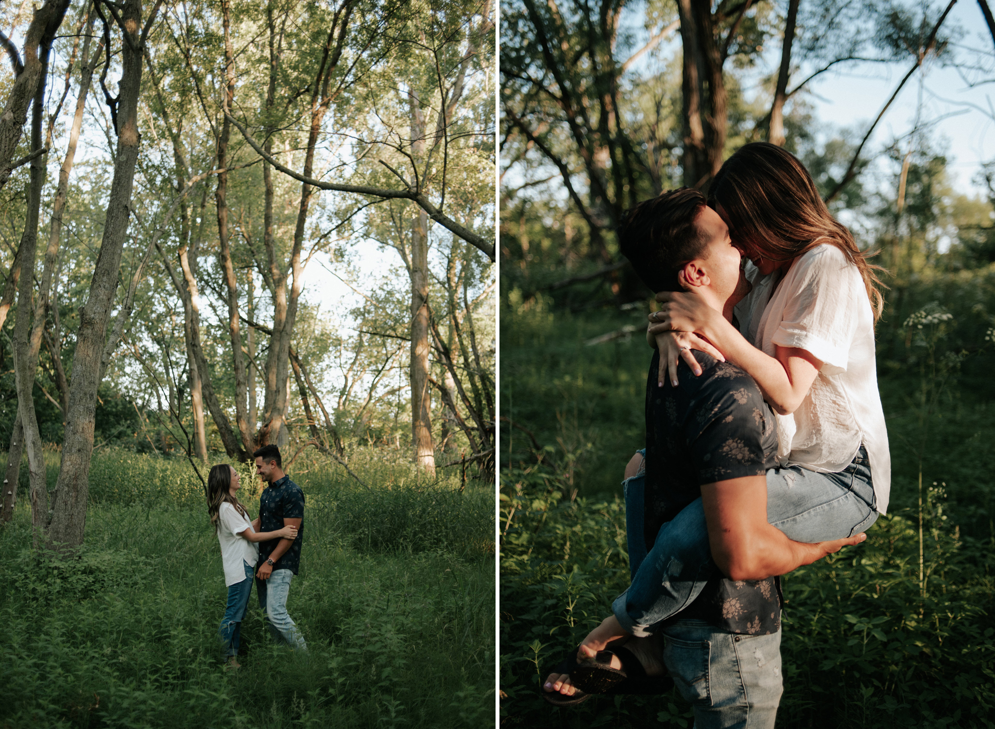 couple in forest for engagement shoot