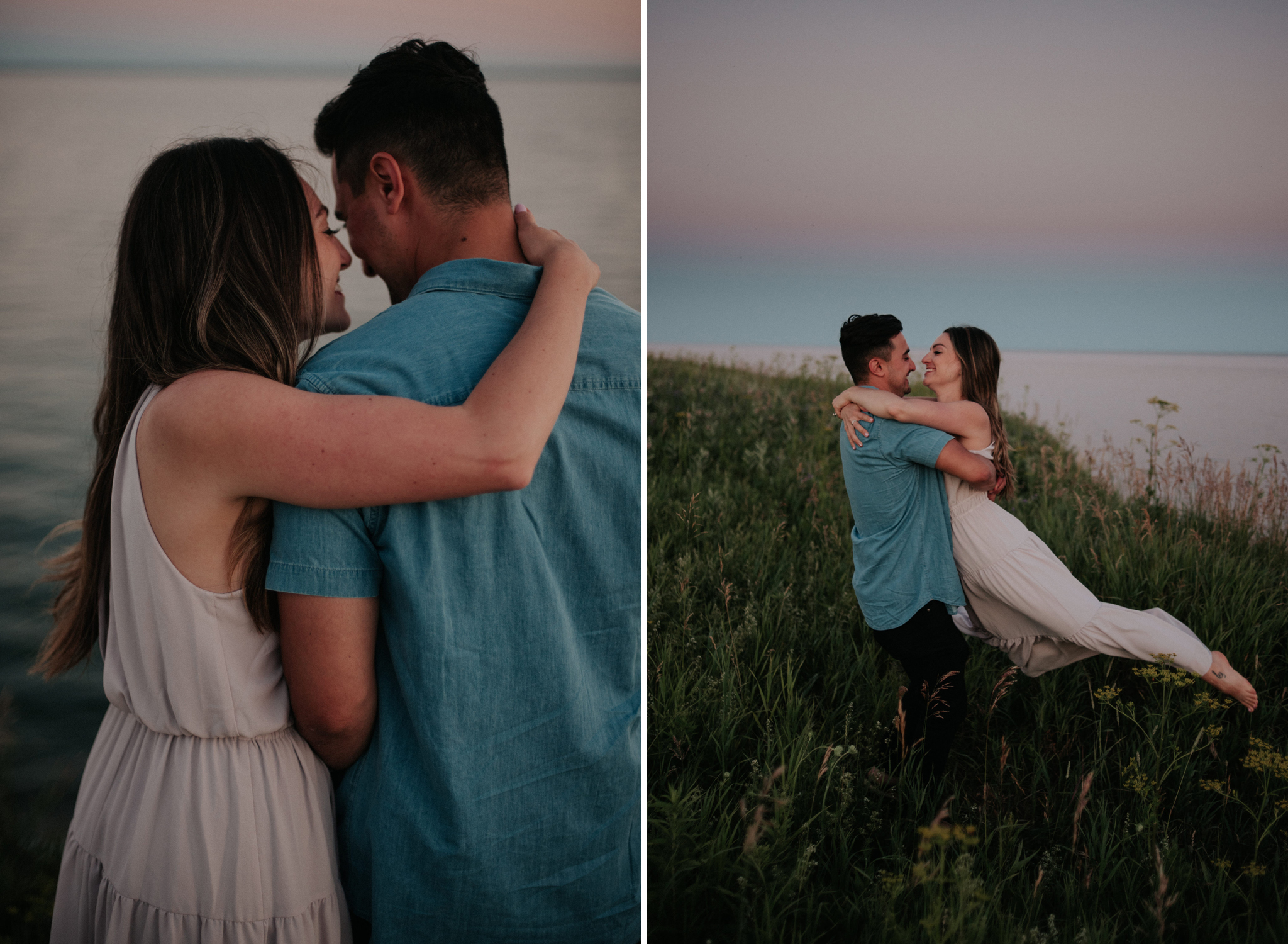 fun Lake Ontario sunset engagement shoot