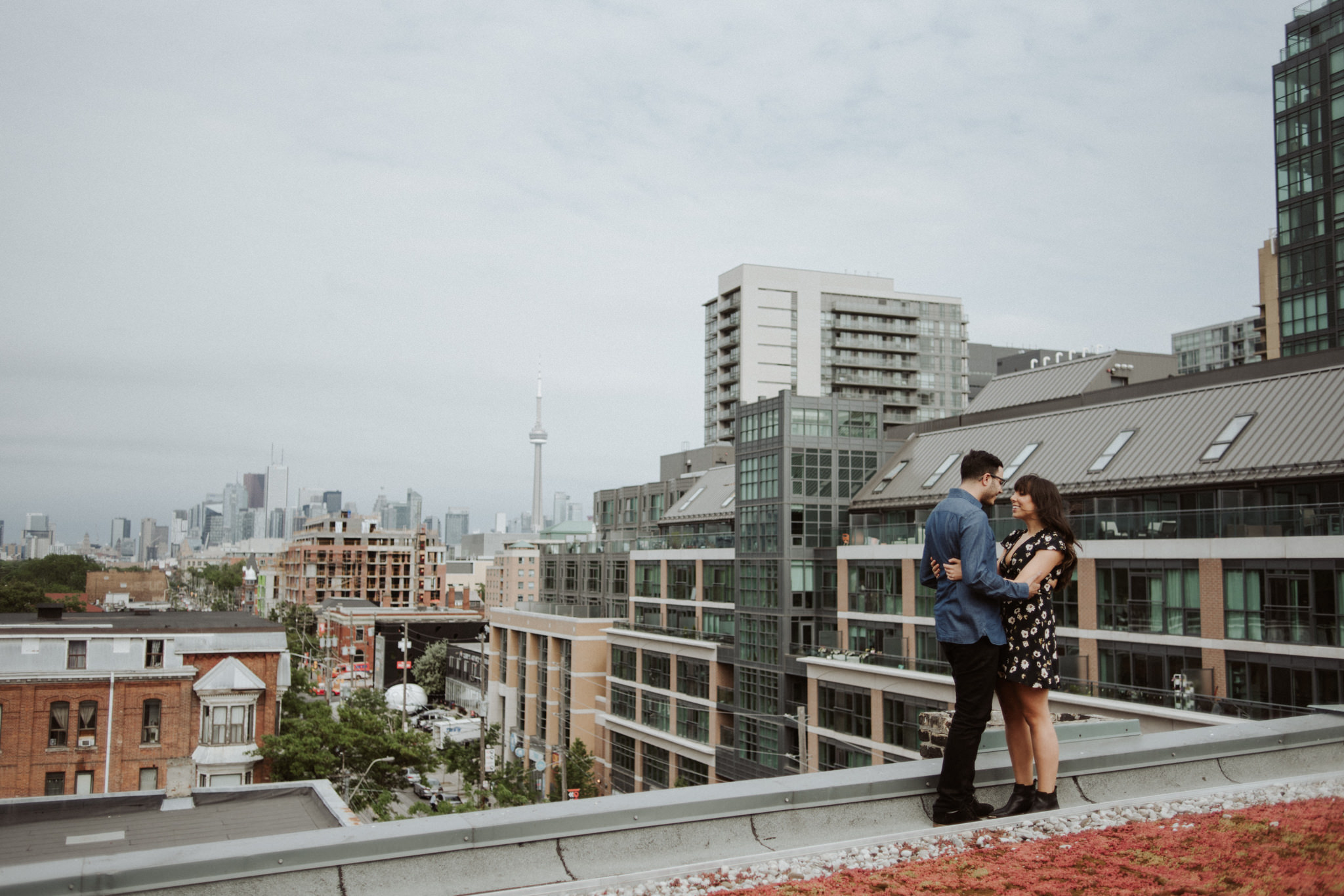 Gladstone Hotel Engagement, couple on the rooftop