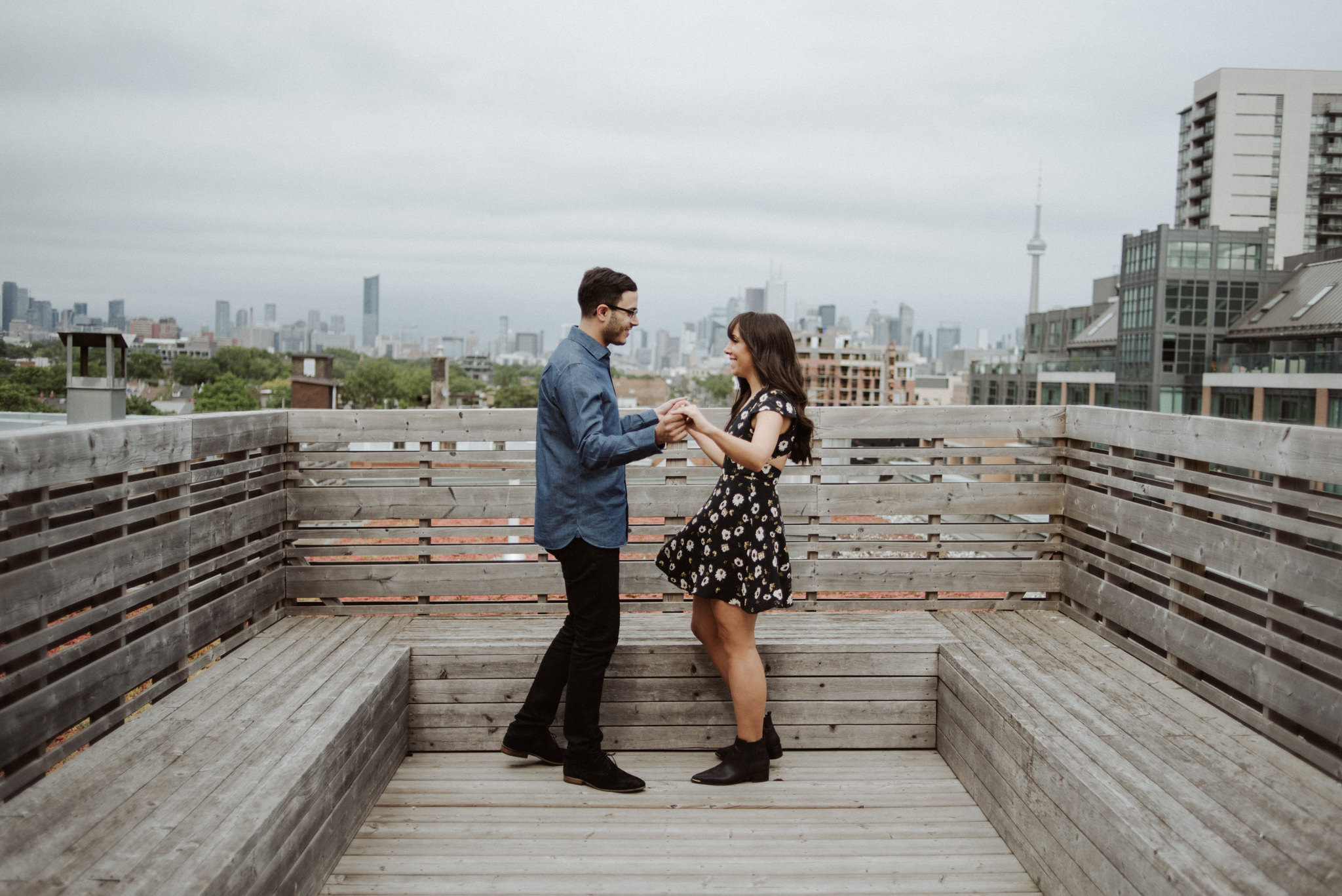 Couple on the rooftop at Gladstone Hotel