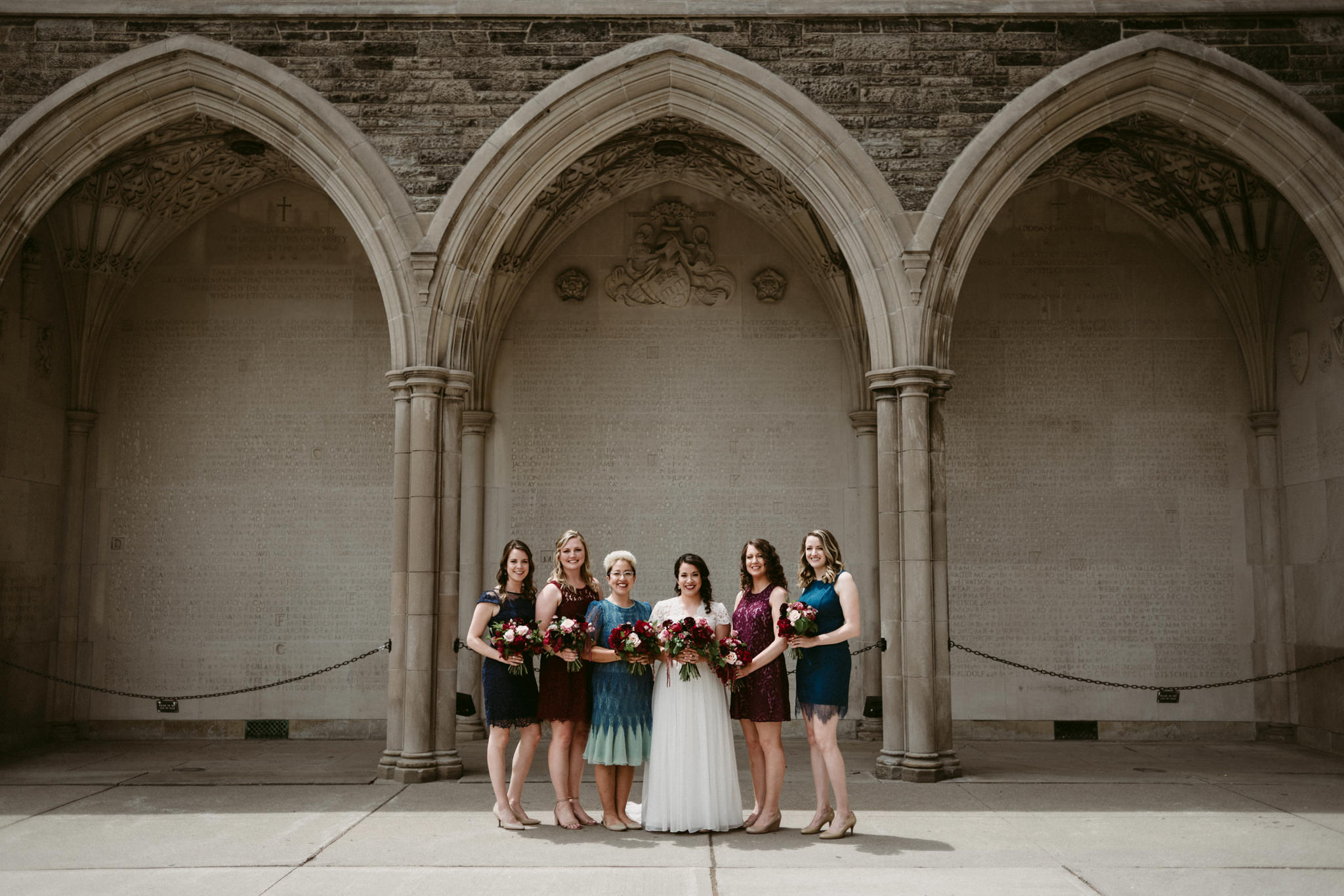 Bridal party photos at Hart House