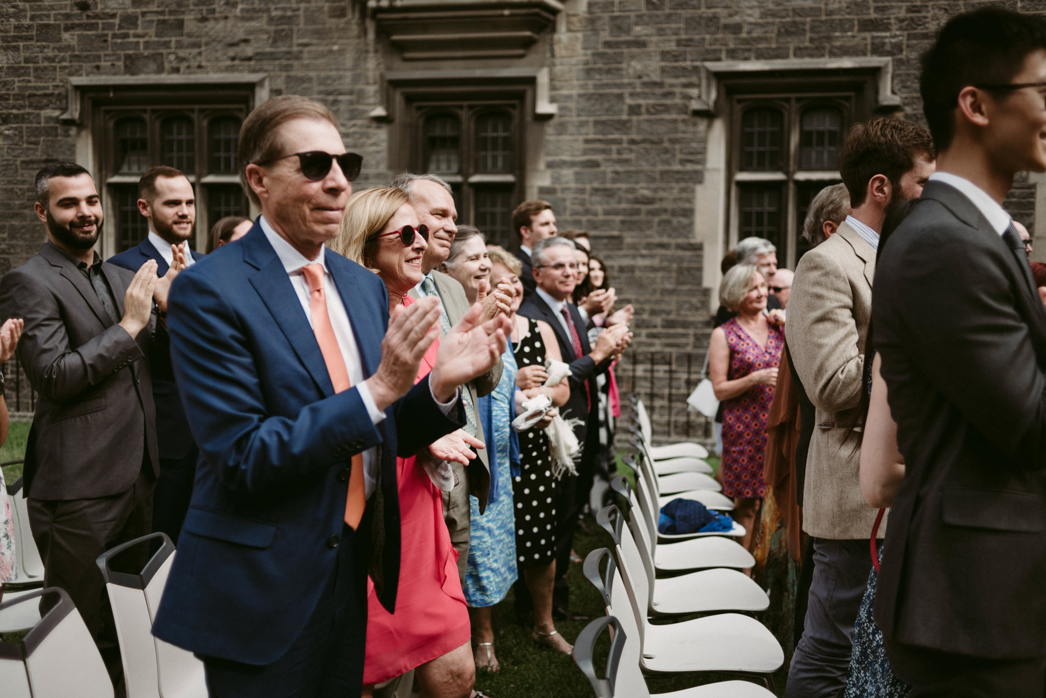 guests during outdoor wedding ceremony at Hart House