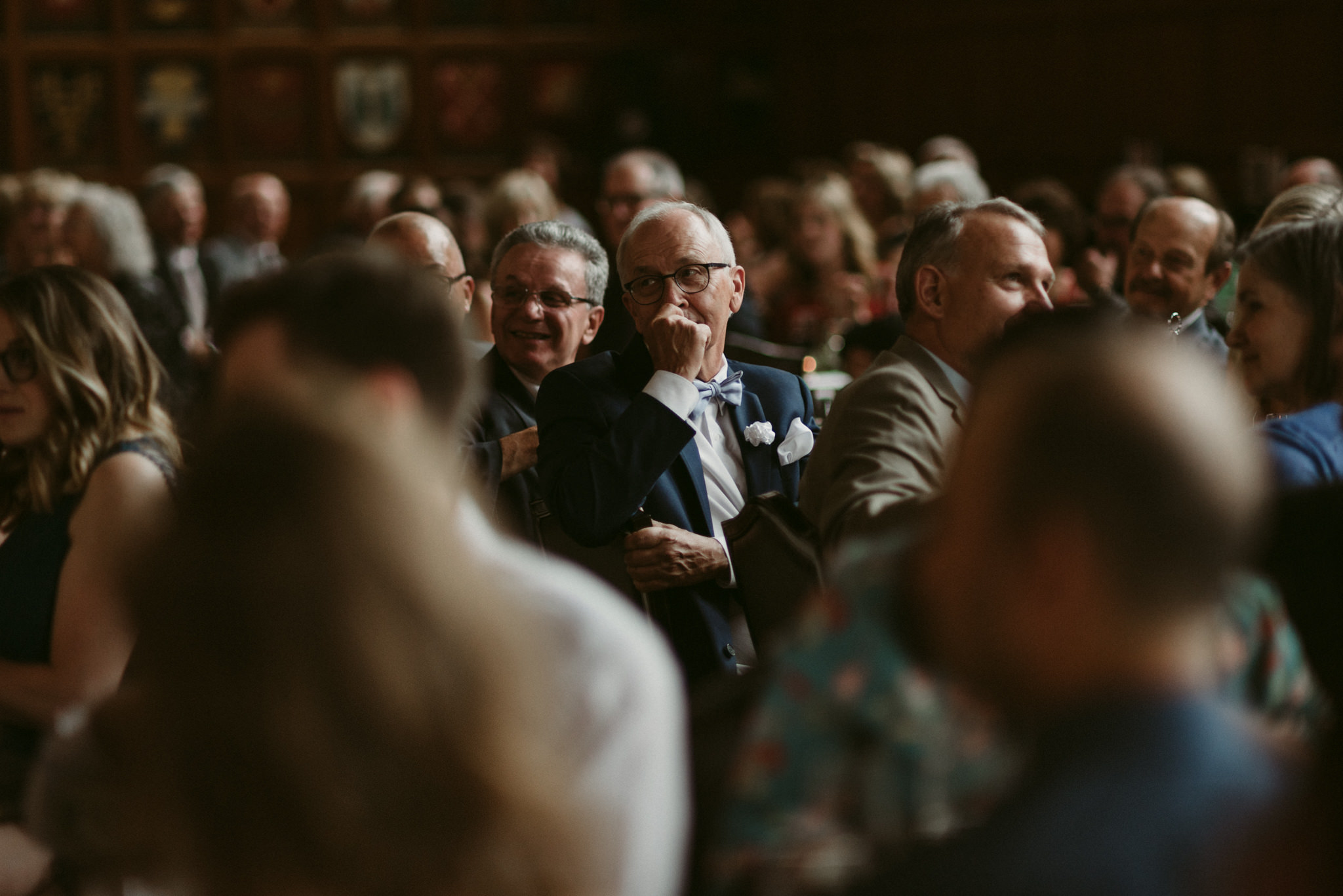 Guests laughing during speeches at Hart House Wedding