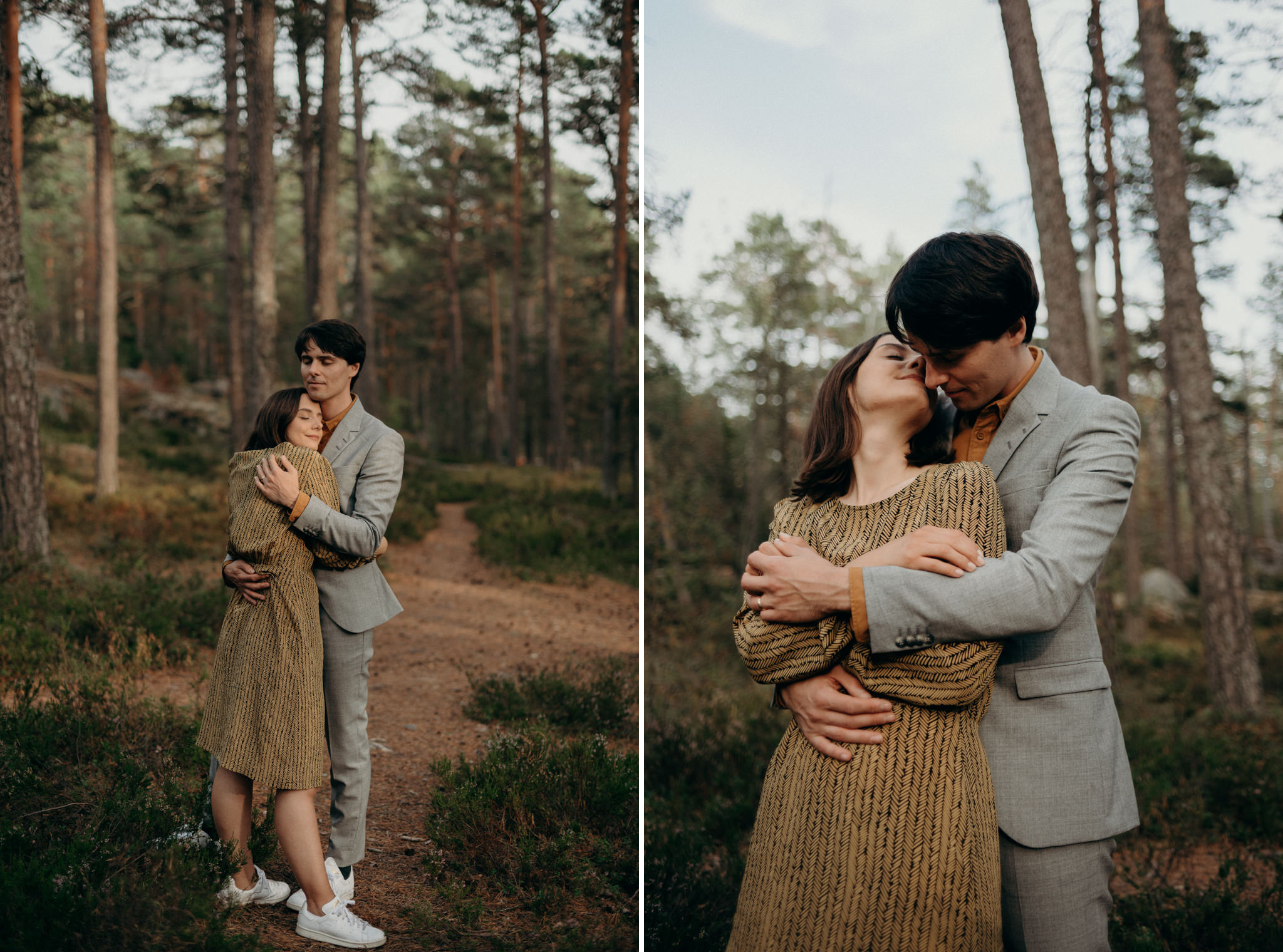 young couple hugging in forest