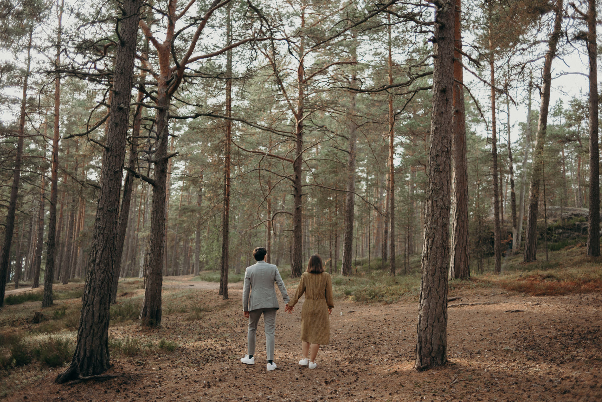 young couple holding hands and exploring forest of pine trees in Finland