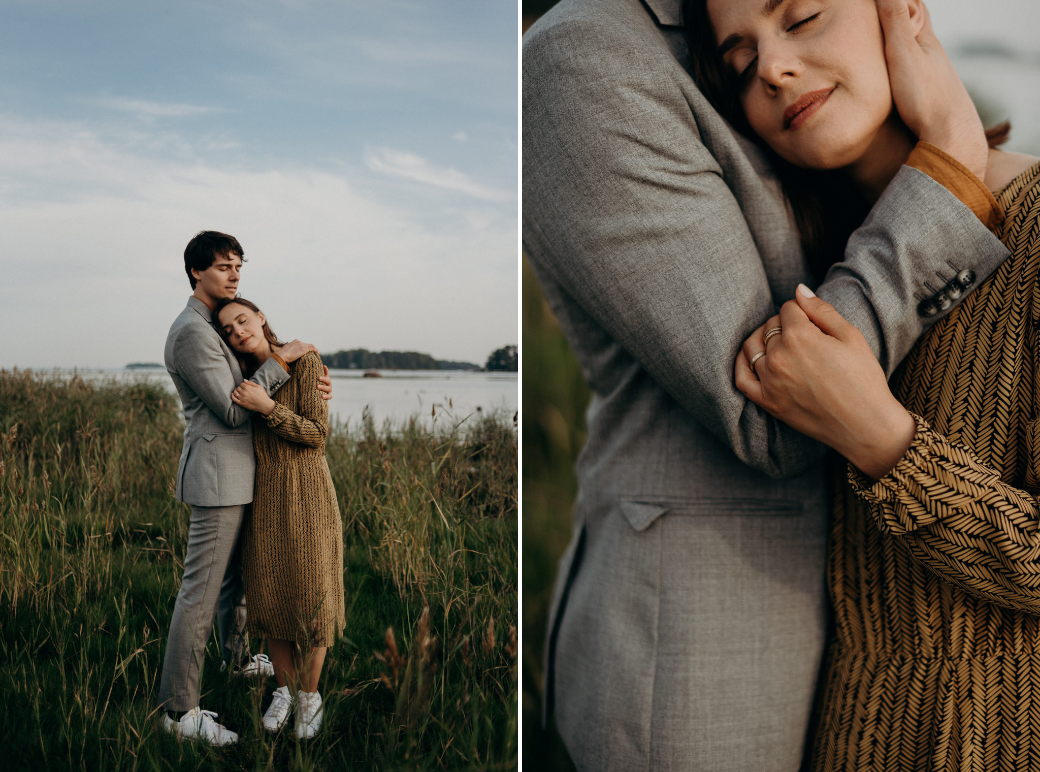 couple dressed up and hugging in tall grass by waterfront