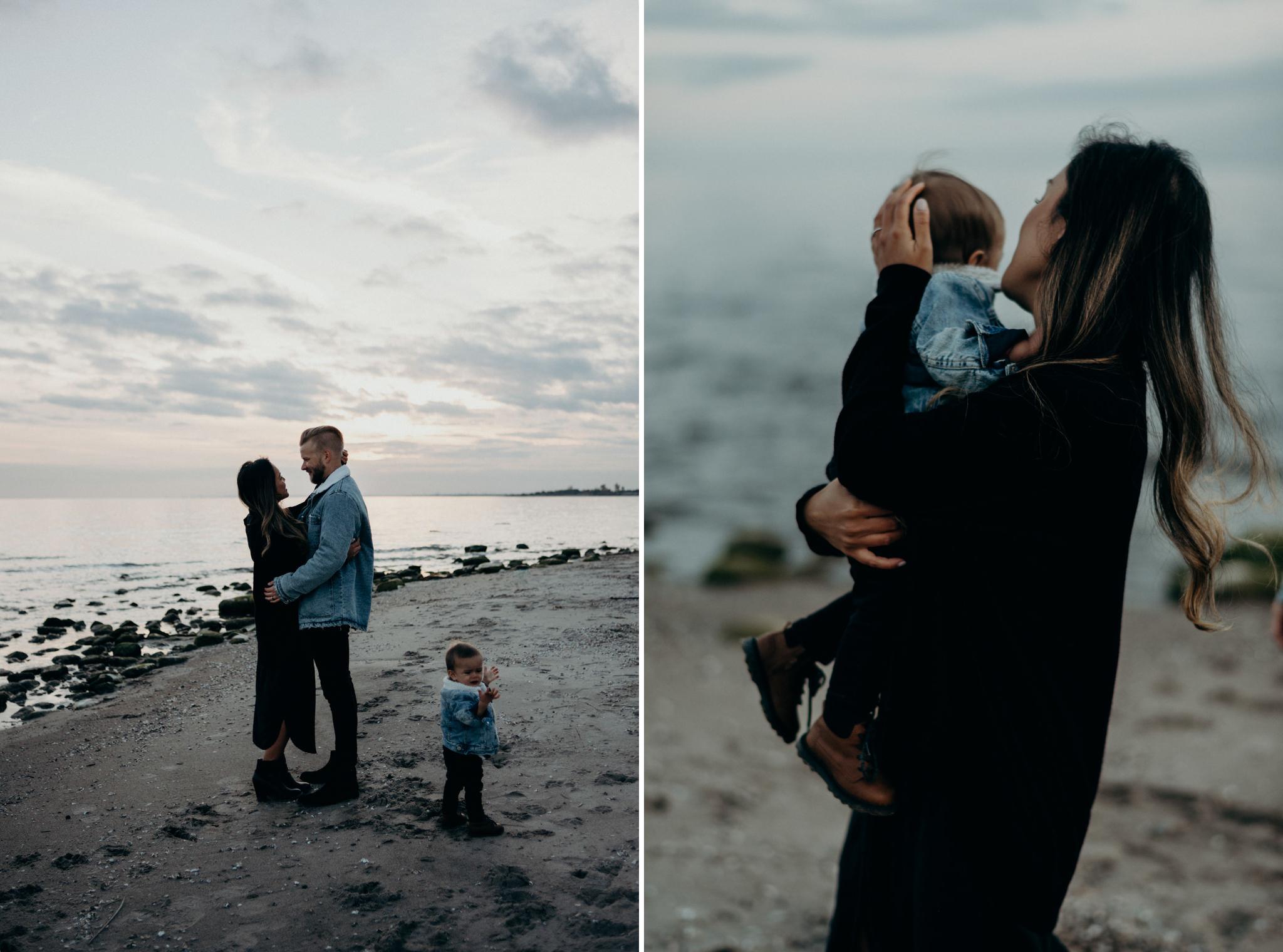 Toronto family portraits on beach at Lake Ontario