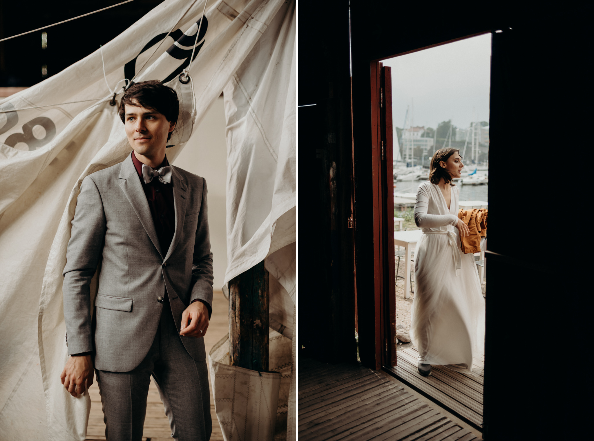 bride and groom getting dressed in old boathouse in Helsinki