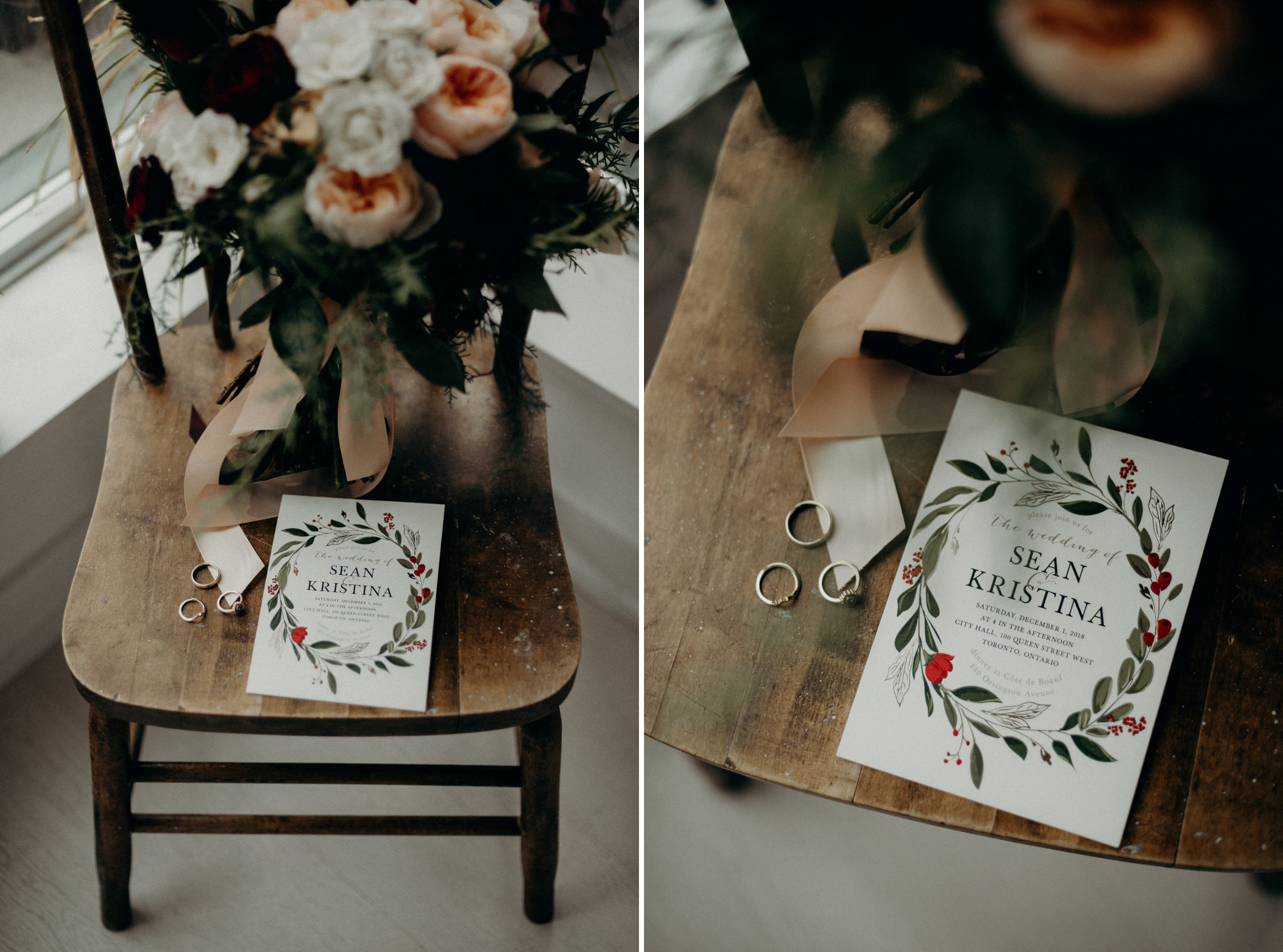 wedding invitation, rings and bouquet on wooden chair