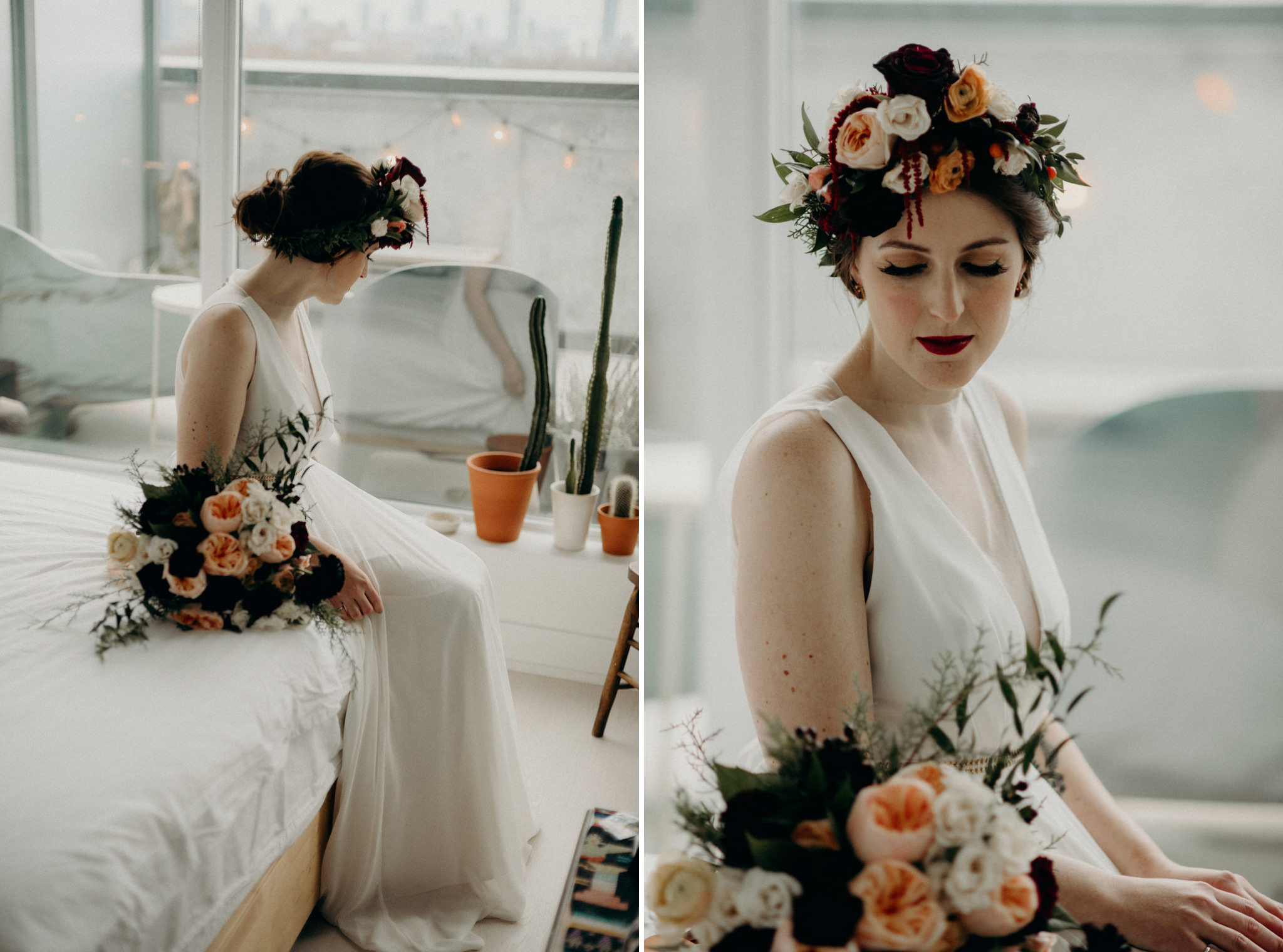 tattooed bride holding bouquet in bedroom
