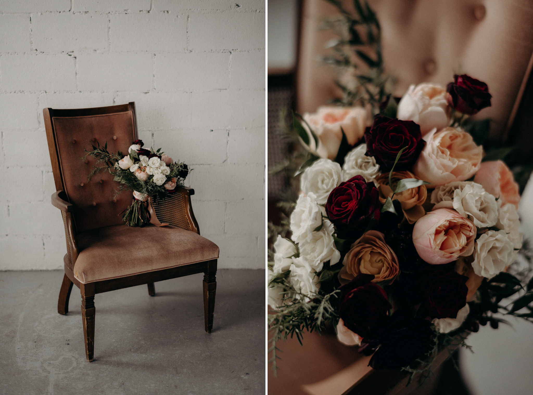 blush wedding bouquet on velvet chair