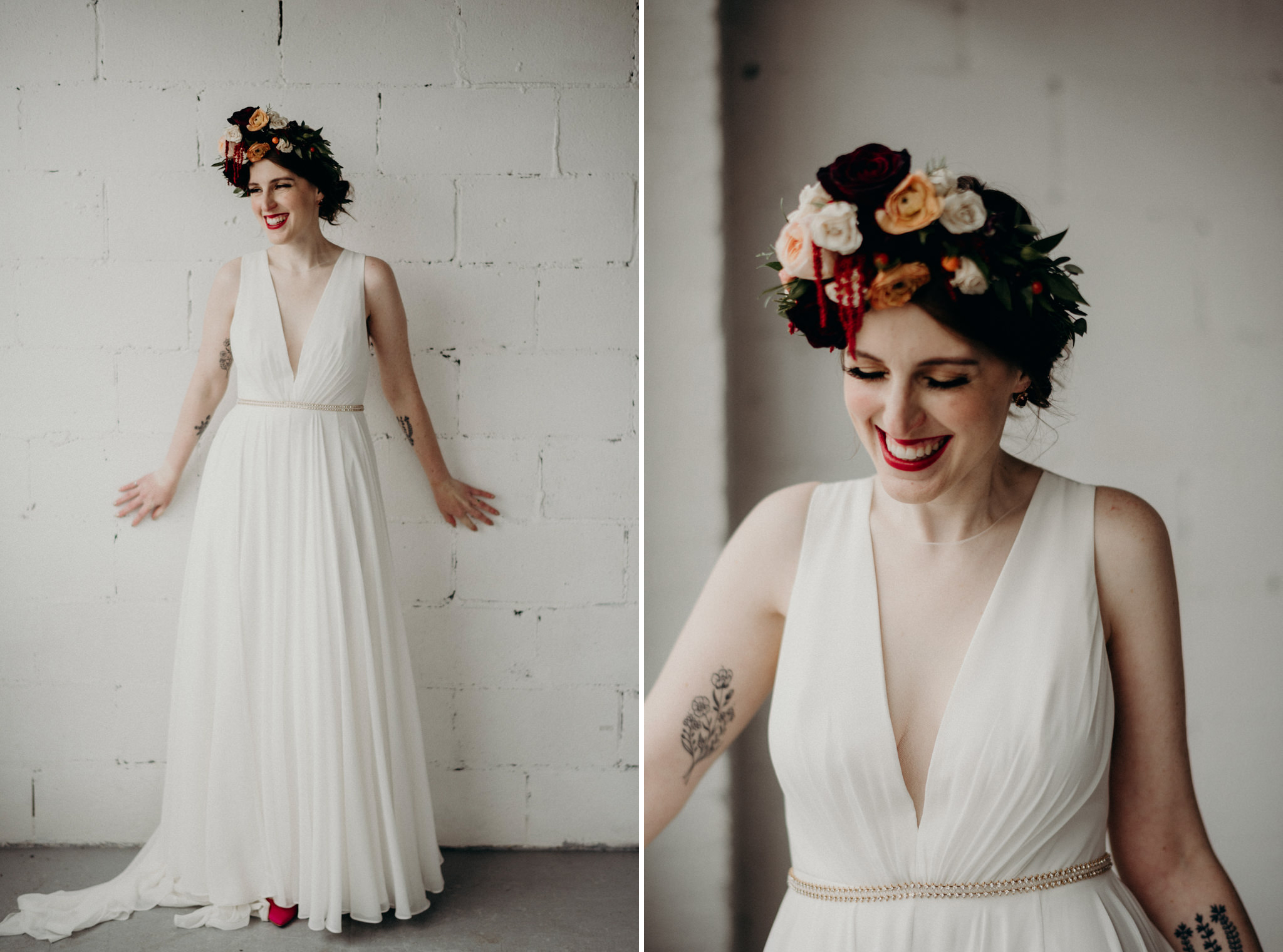 bride looking outside windows of old loft in Toronto, frida kahlo inspired bridal look