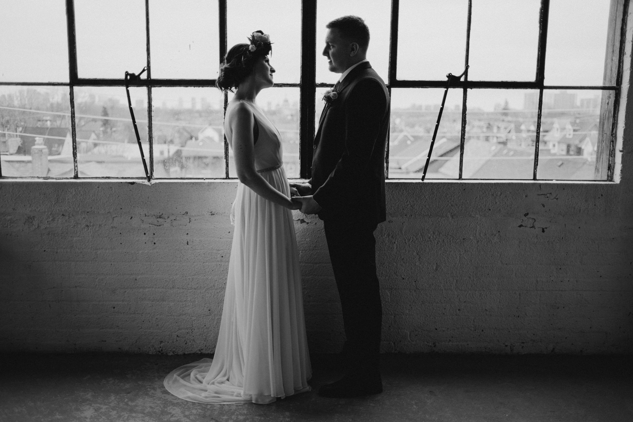 wedding portraits in loft in Toronto