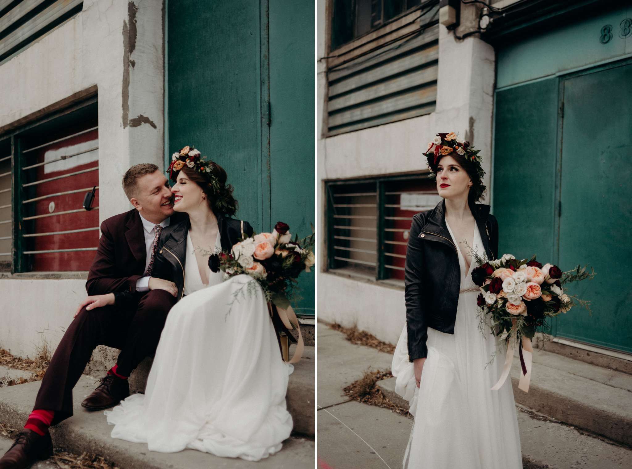 hip wedding couple standing in front of old building, bride wearing large floral crown