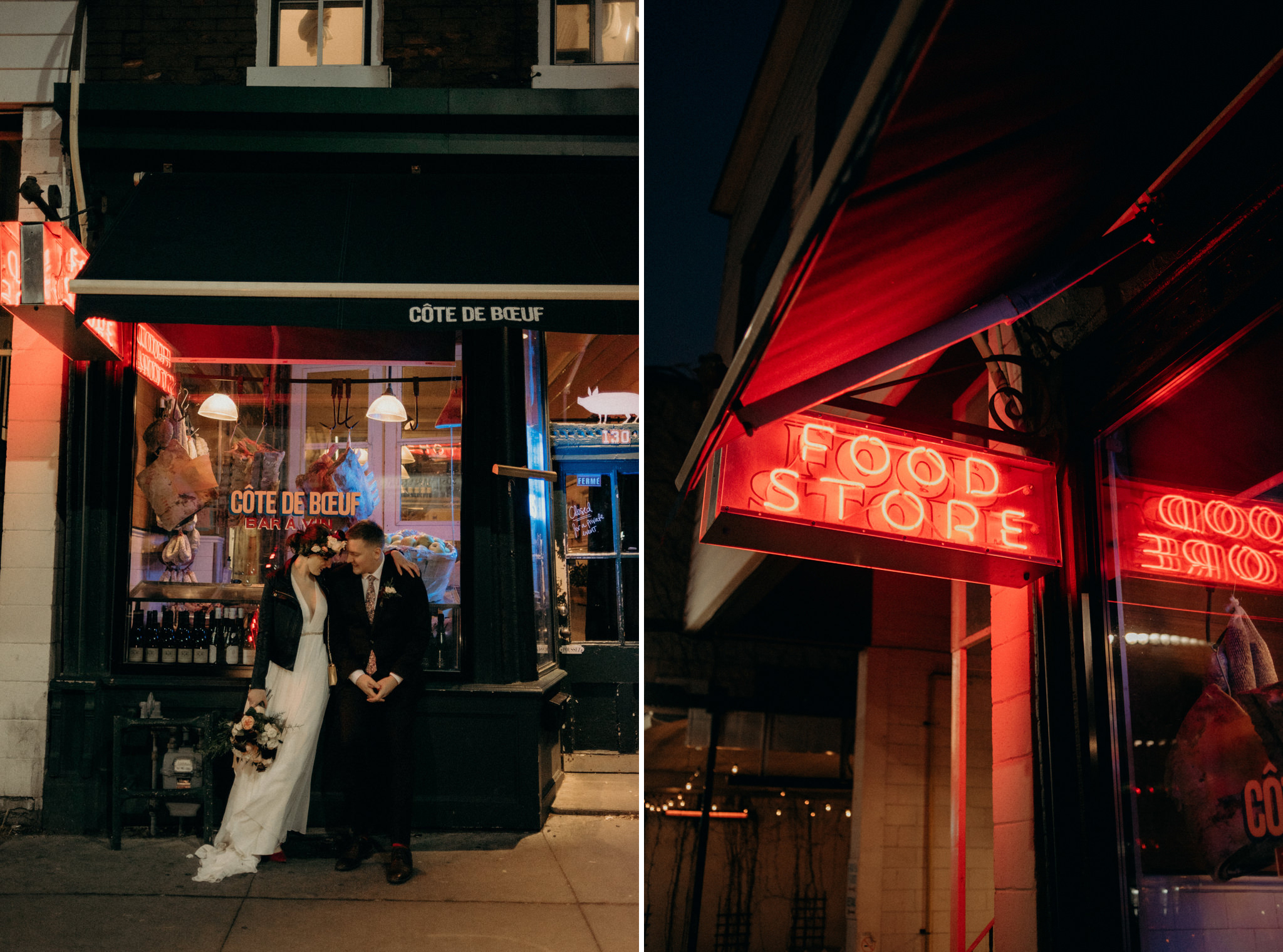 bride and groom kissing in front of neon signs of store in Toronto