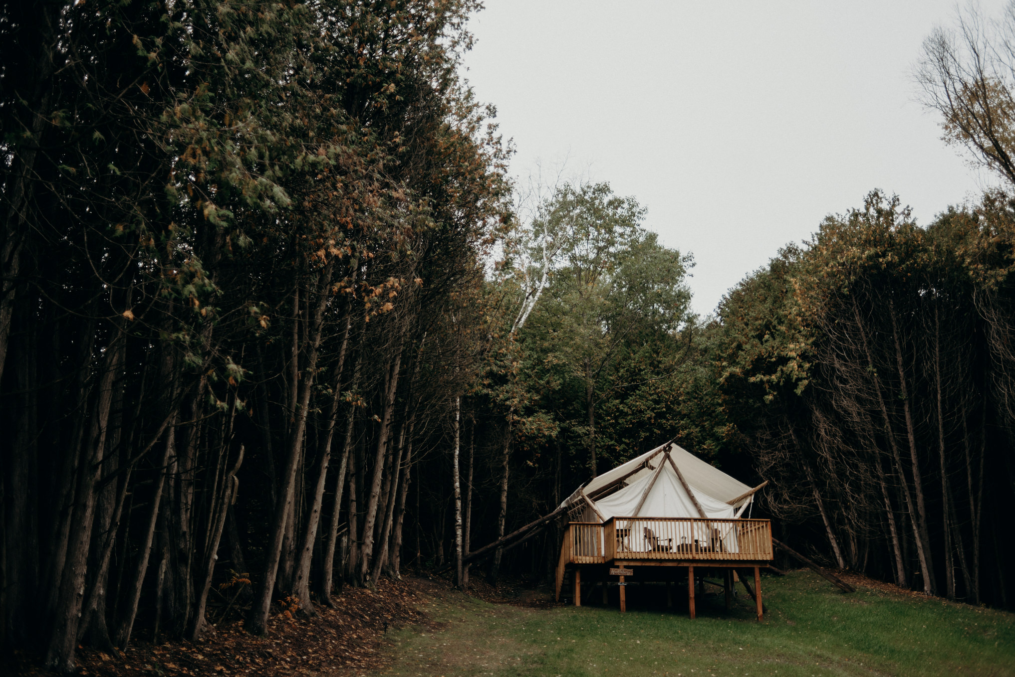 Luxury glamping tent in the woods