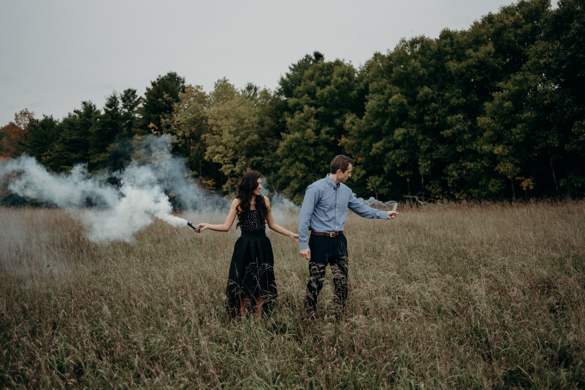Fall engagement shoot with smoke bombs