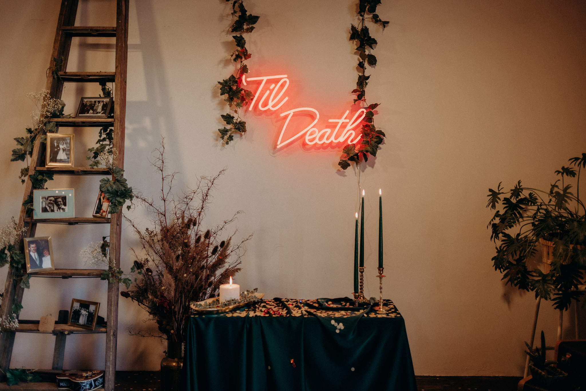 'til death neon sign, marriage license signing table decor in old loft