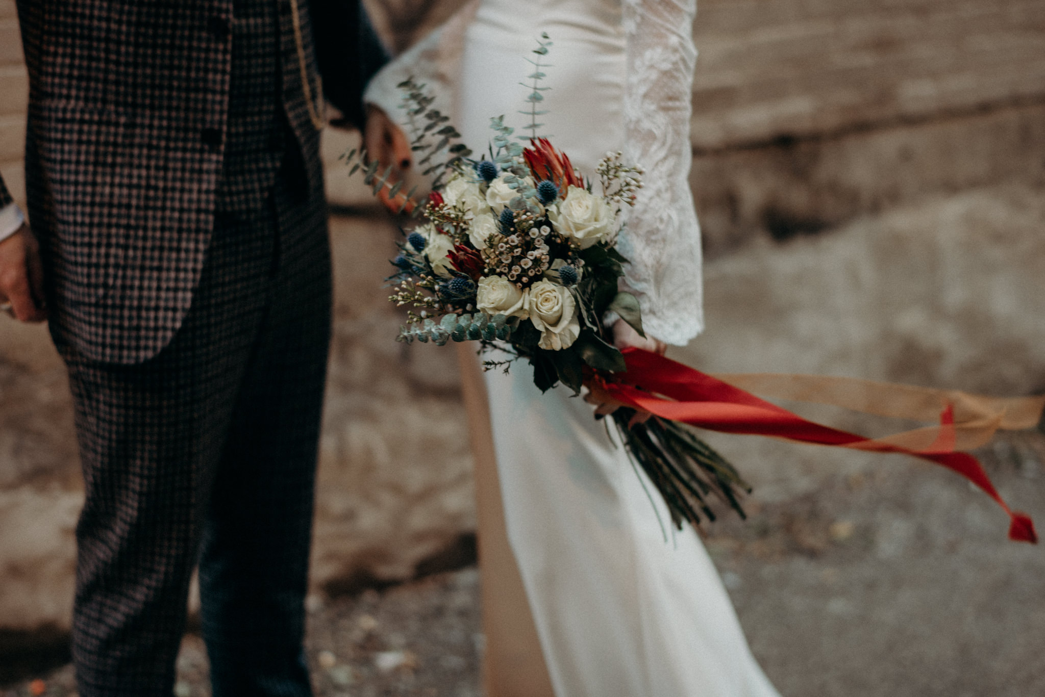 ribbons on bouquet flowing in wind