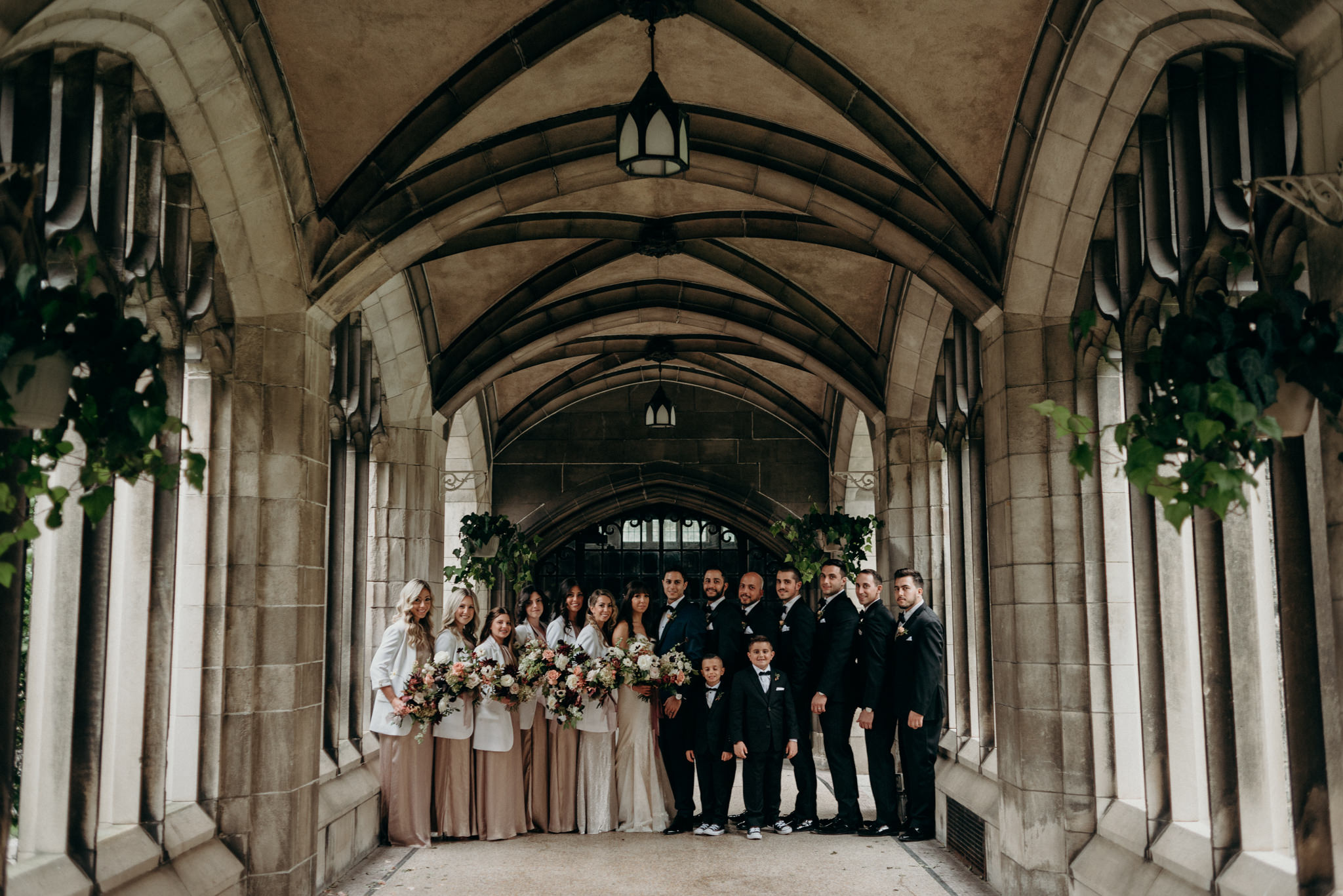 wedding party portrait at Knox College