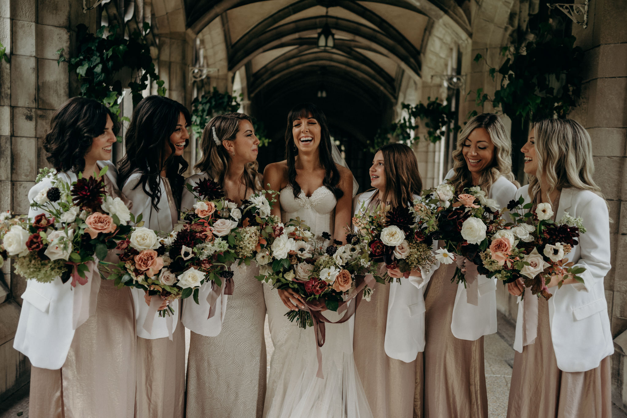 bridesmaids laughing, wedding portraits at Knox College