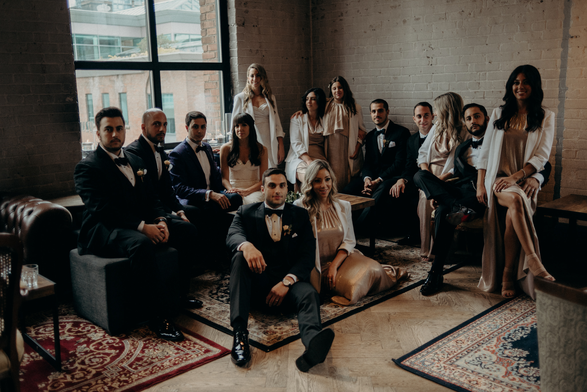 Wedding party portrait at Storys Building