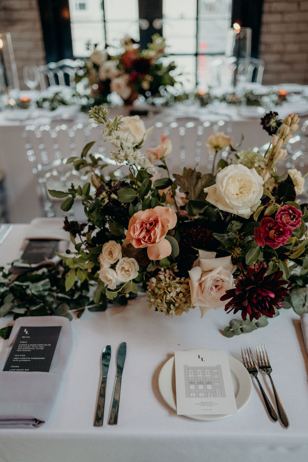Flower arrangement on table for reception