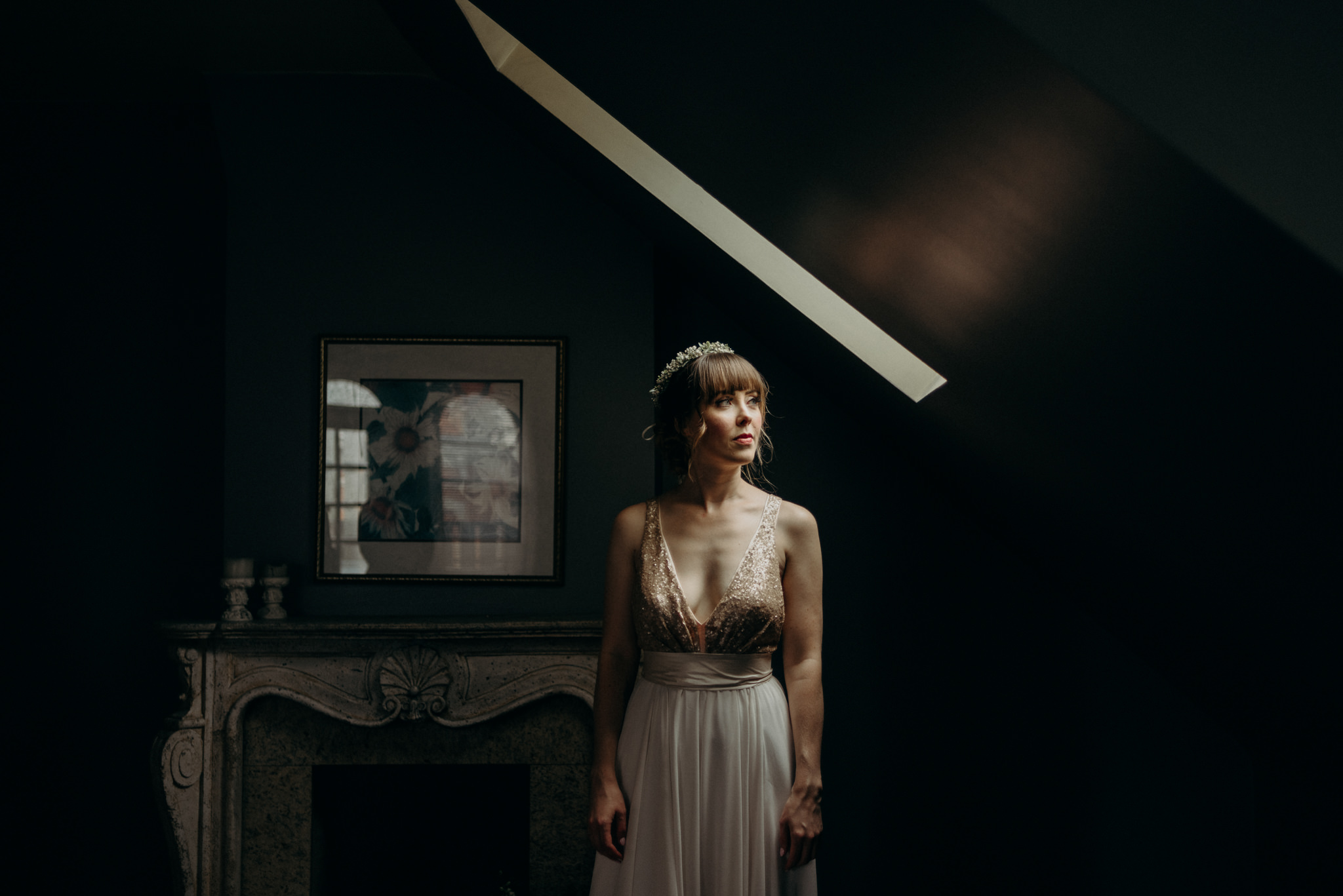 bride in loft room with skylight