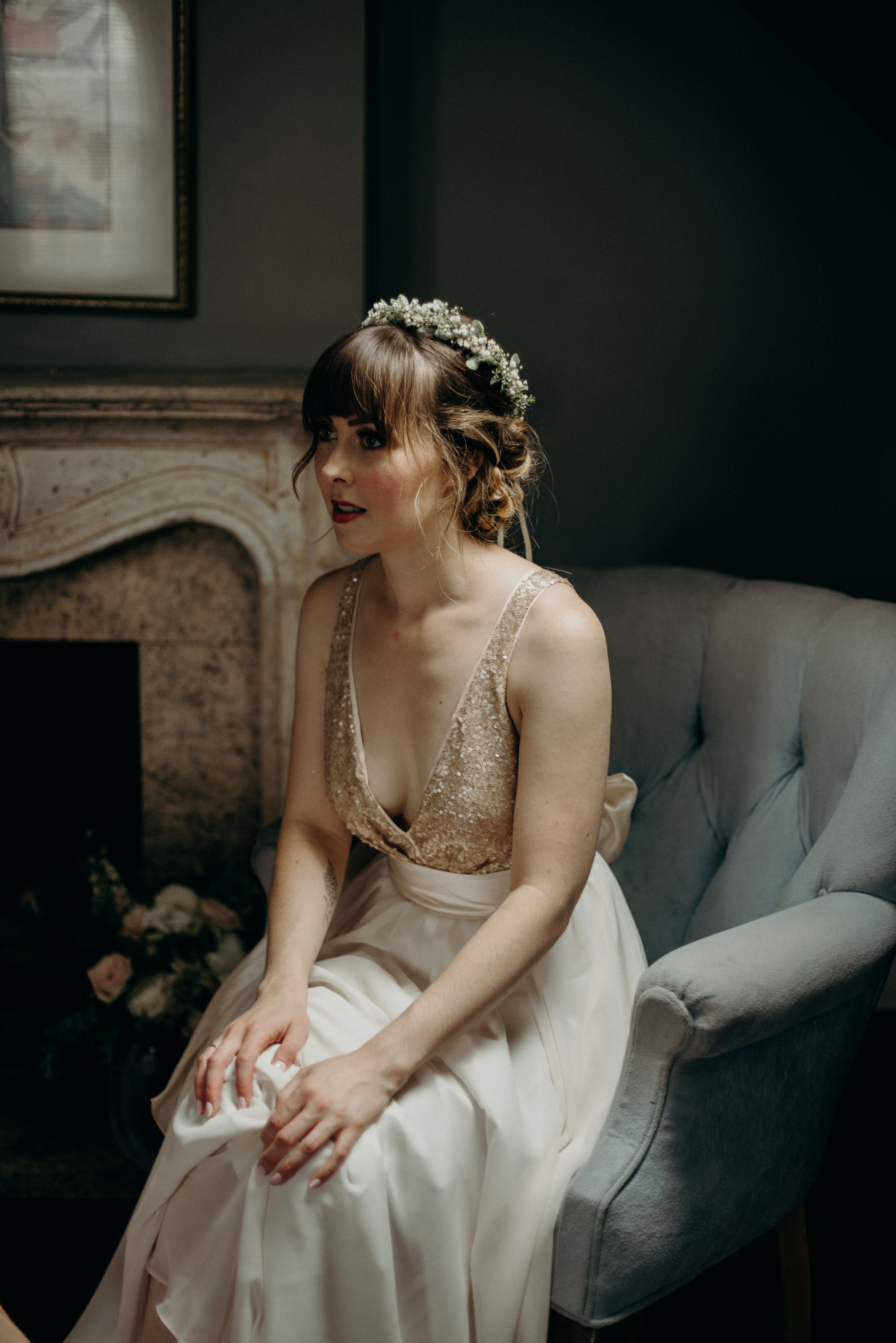 elegant bride getting ready, sitting in chair