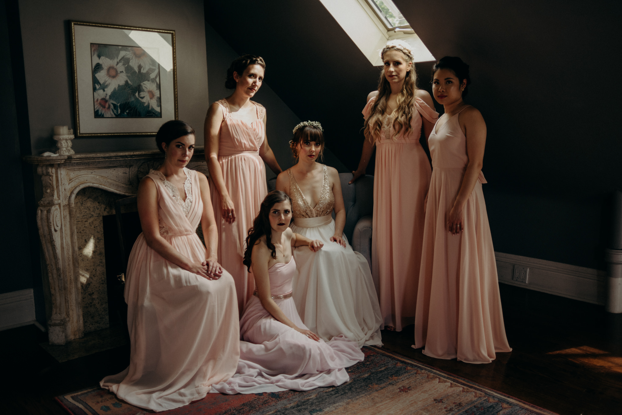 bridesmaids vogue portrait in heritage home