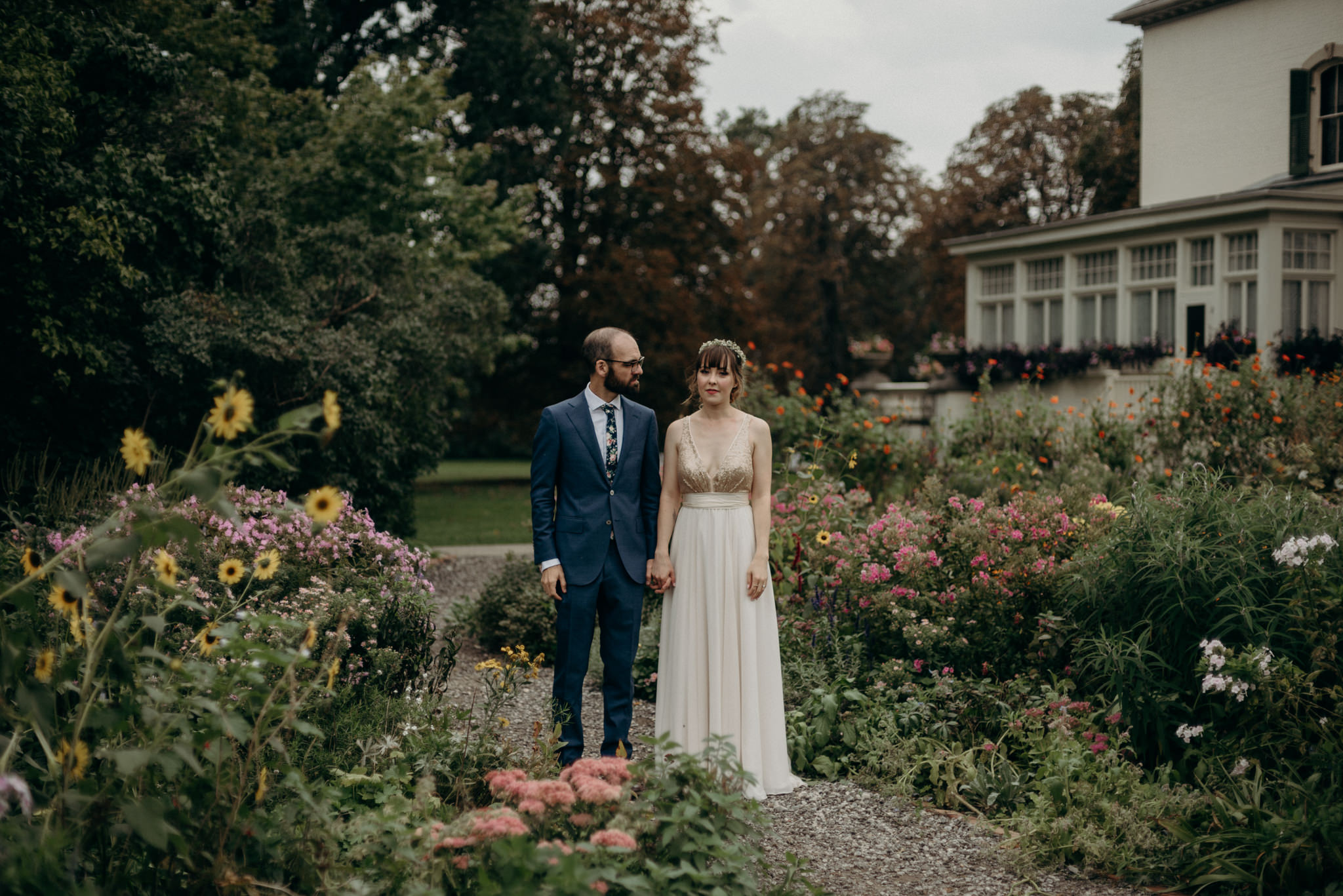 Spadina Museum wedding portraits in the garden