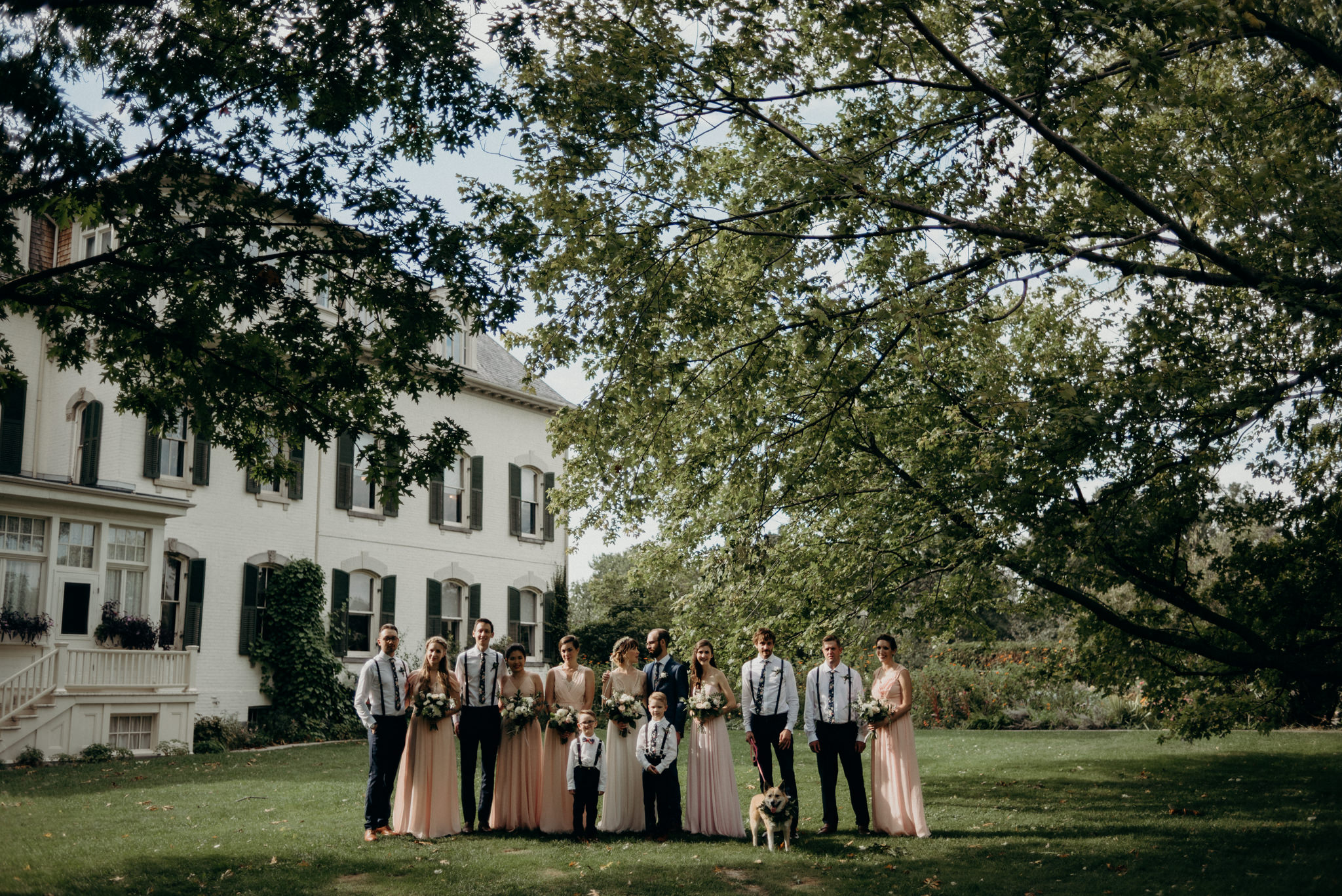 wedding party portraits at Spadina Museum