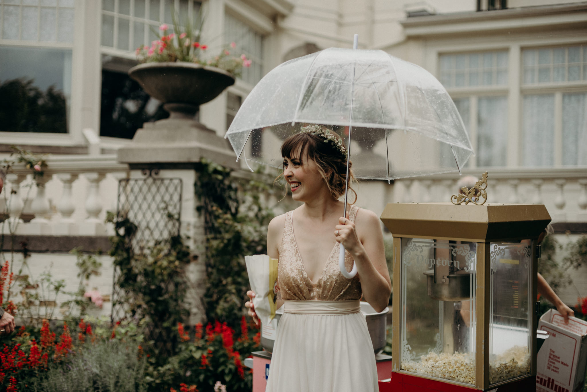 bride with umbrella and cotton candy at Spadina Museum