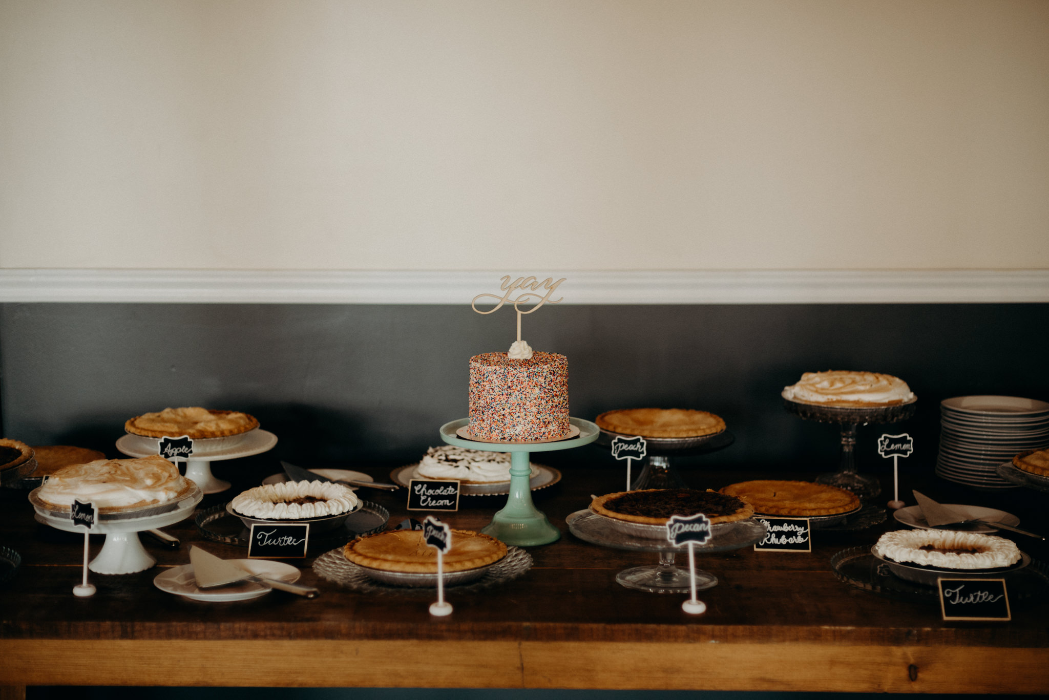 cake and pie table at Jam Factory wedding reception