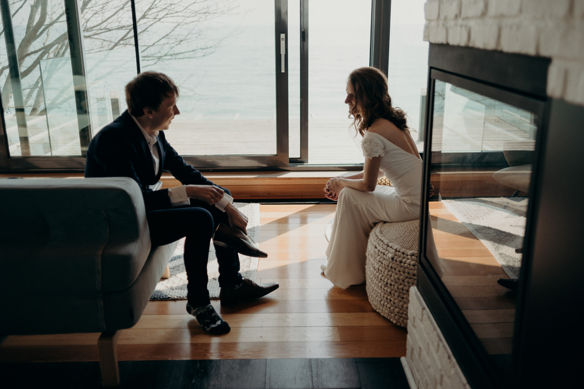 bride and groom getting ready together, Drake Devonshire Elopement