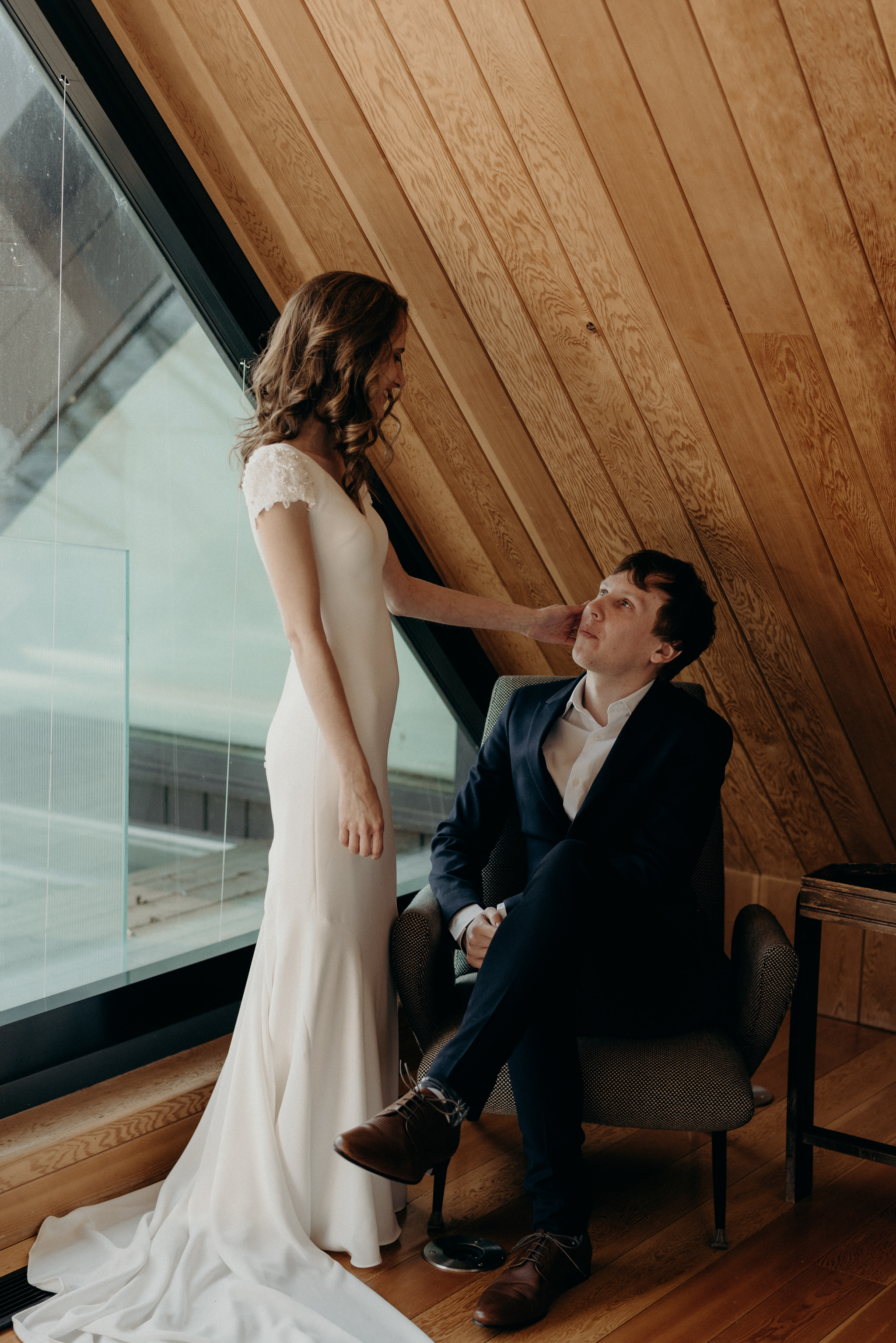 wedding portraits in owner's suite at Drake Devonshire