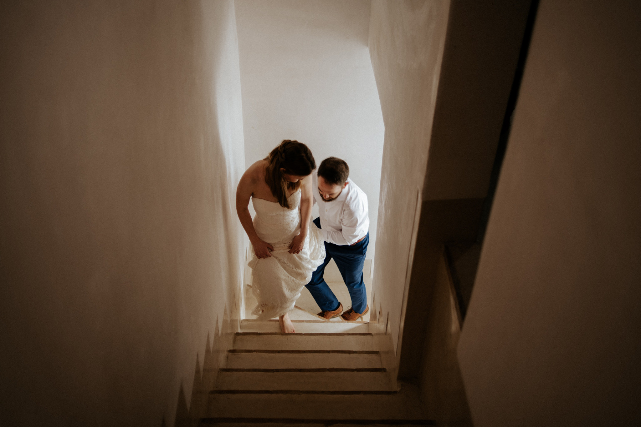 couple walking up stairs, Morocco elopement