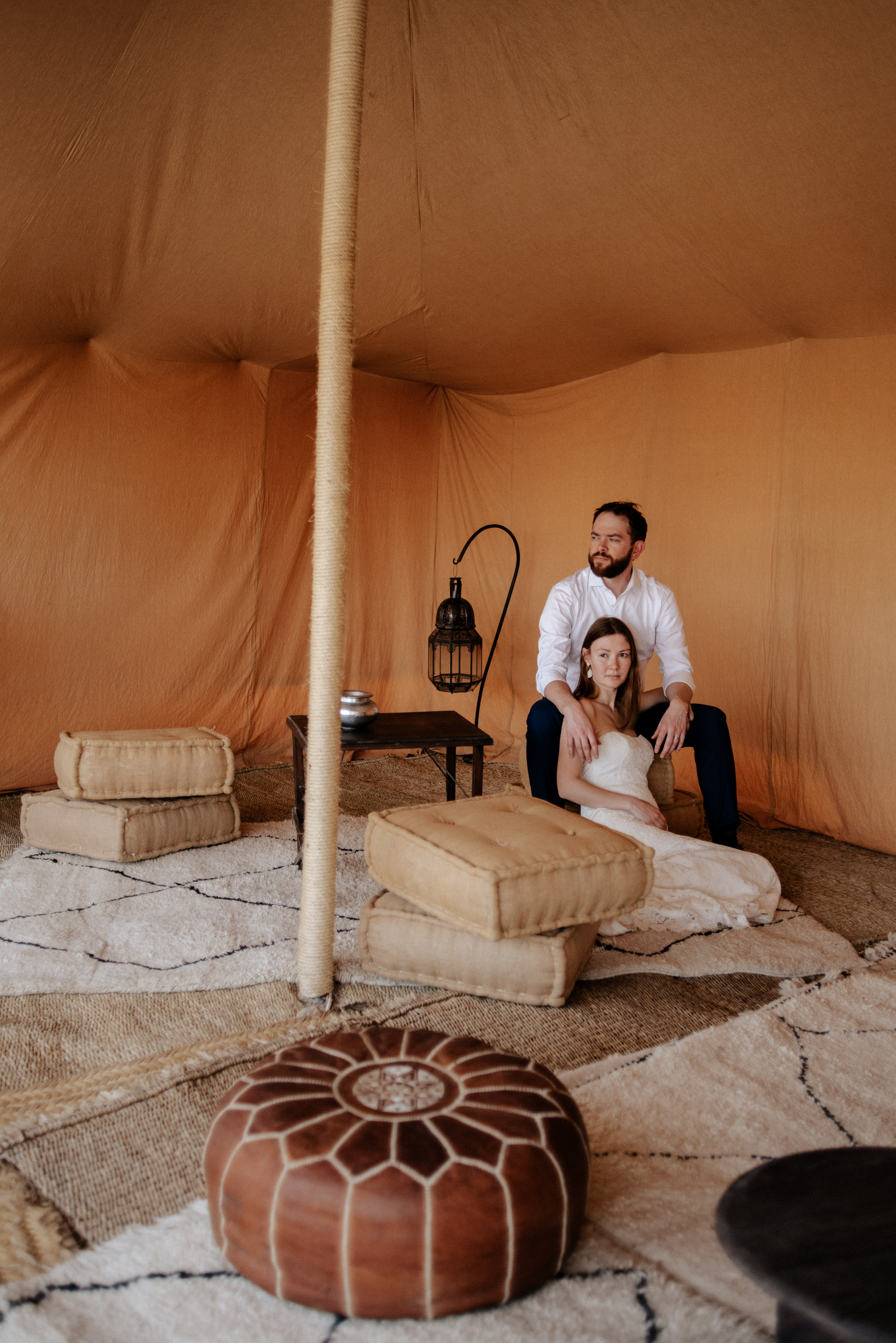 Bride and groom wedding portraits at Scarabeo Camp in Morocco