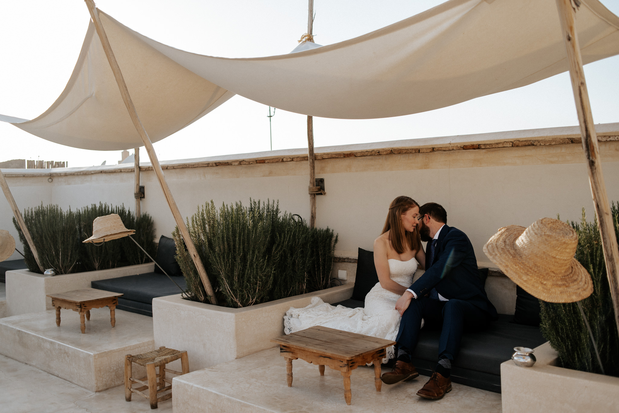 Rooftop sunset wedding portraits at Riad 42 in Marrakech